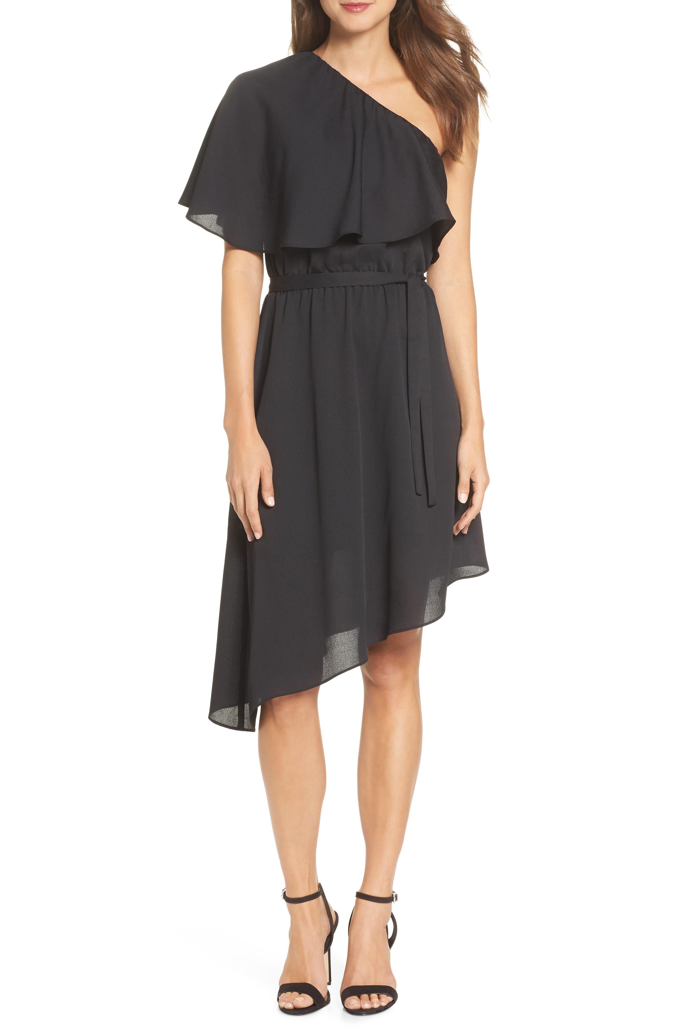 One-Shoulder Asymmetrical Dress,                         Main,                         color, Black