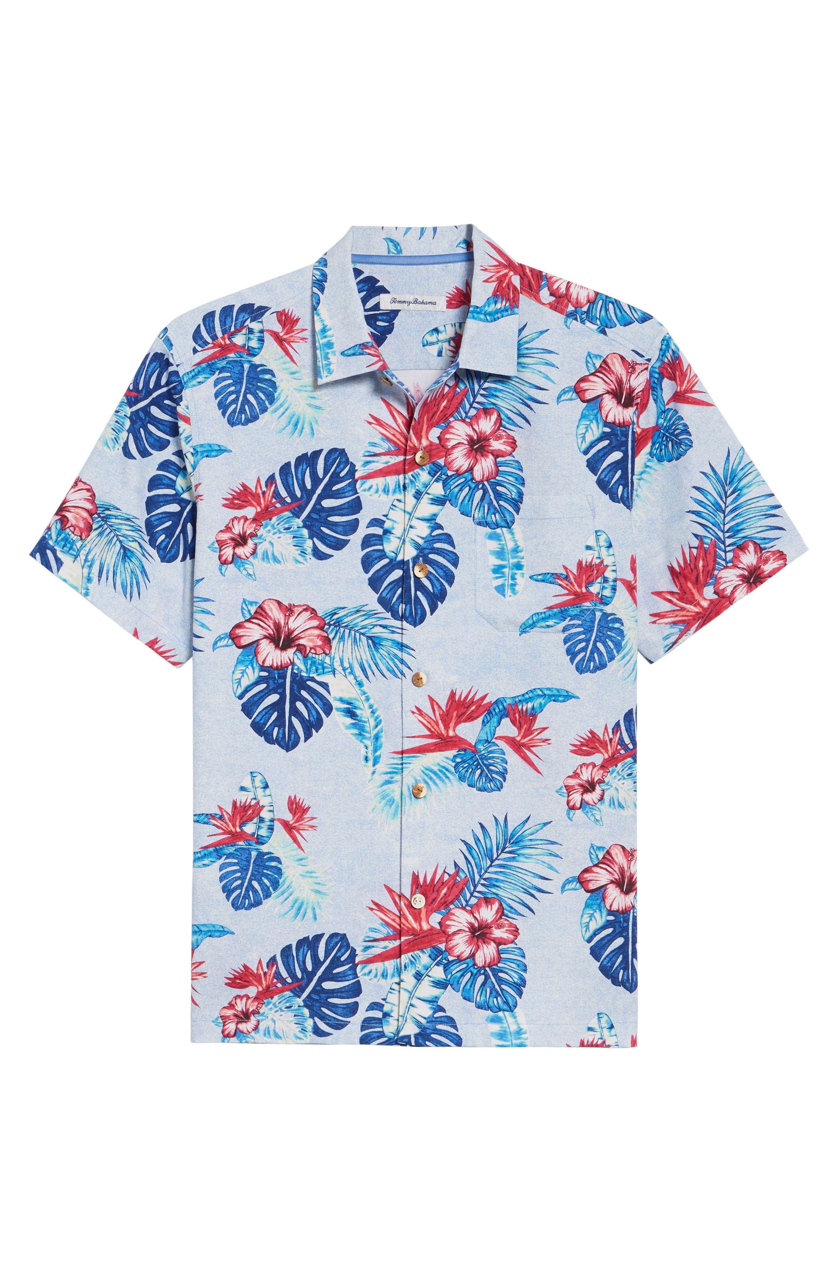 Casa Rosa Floral Print Silk Shirt,                             Alternate thumbnail 6, color,                             Light Sky