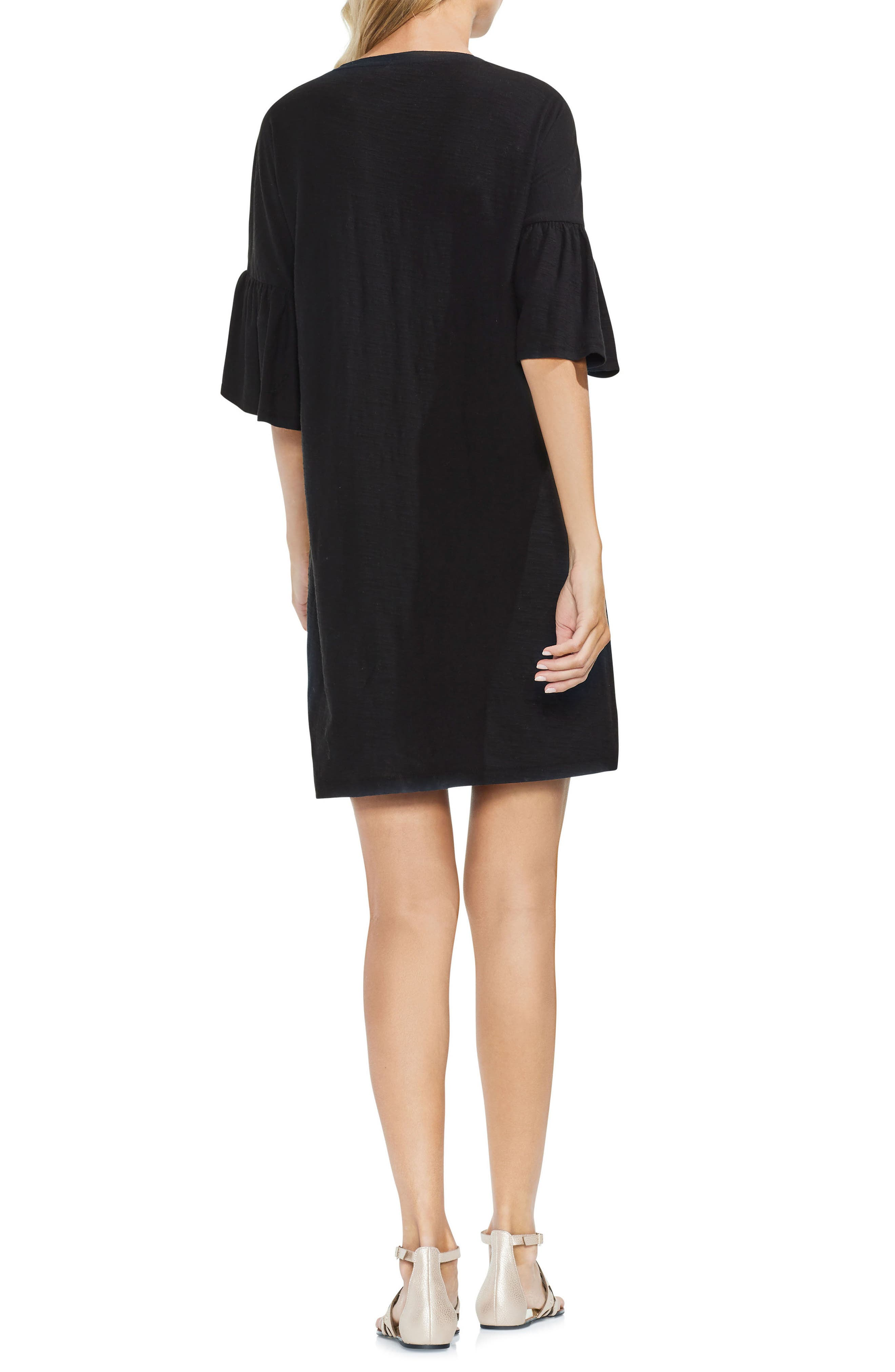 Embroidered Shift Dress,                             Alternate thumbnail 2, color,                             Rich Black