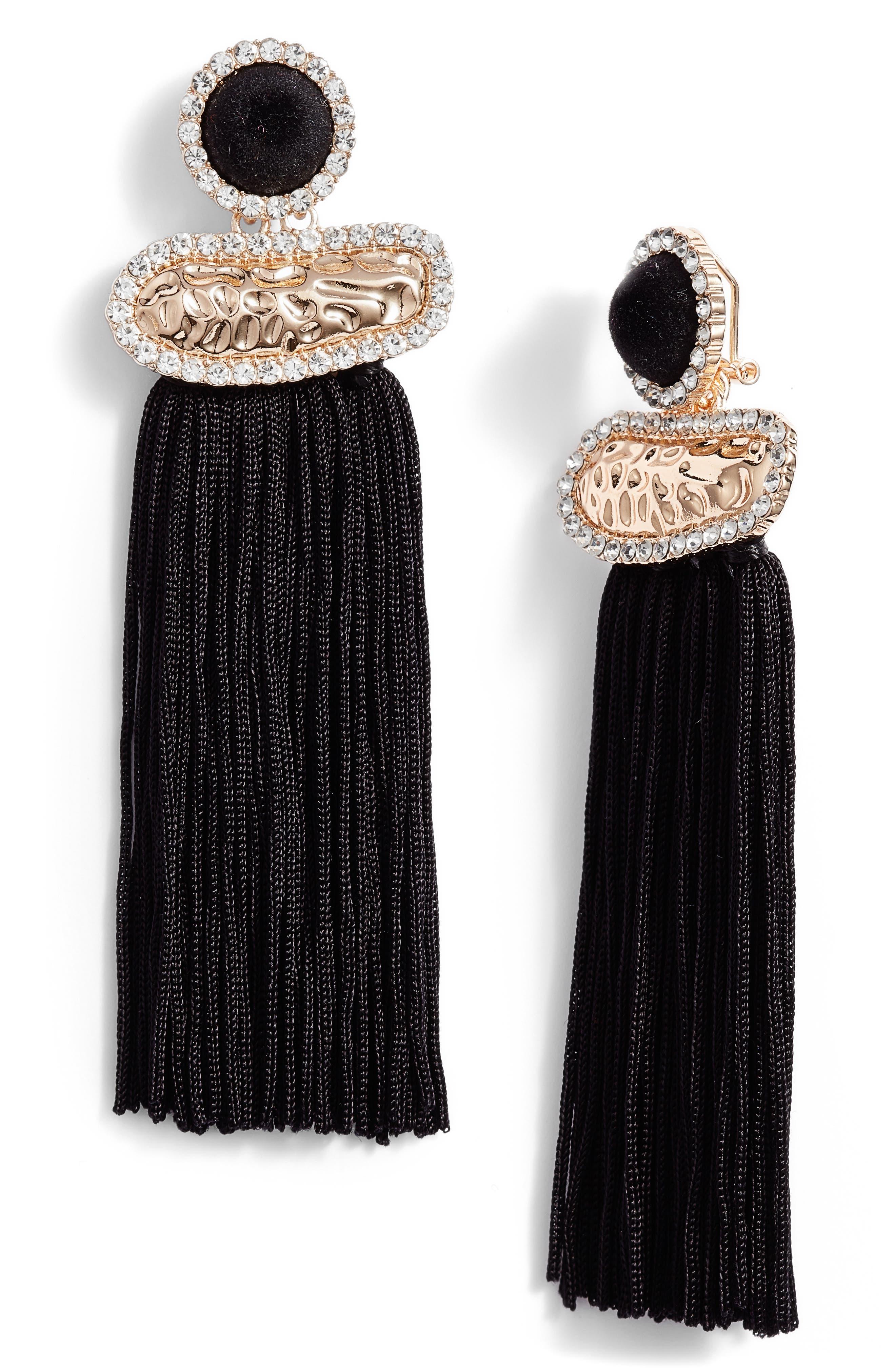 Textured Metal Fringe Earrings,                             Main thumbnail 1, color,                             Black