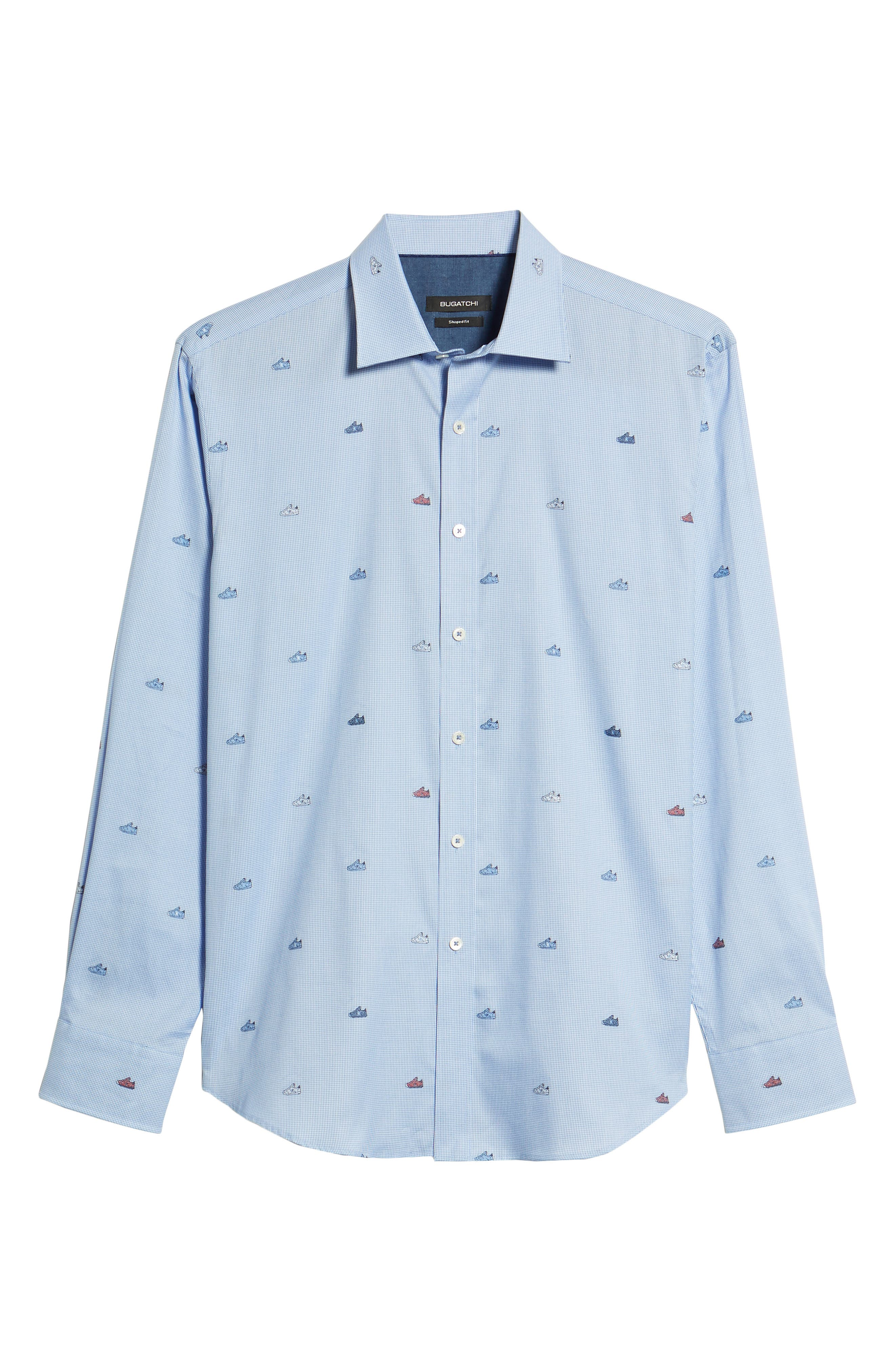 Shaped Fit Sneaker Jacquard Sport Shirt,                             Alternate thumbnail 6, color,                             Classic Blue