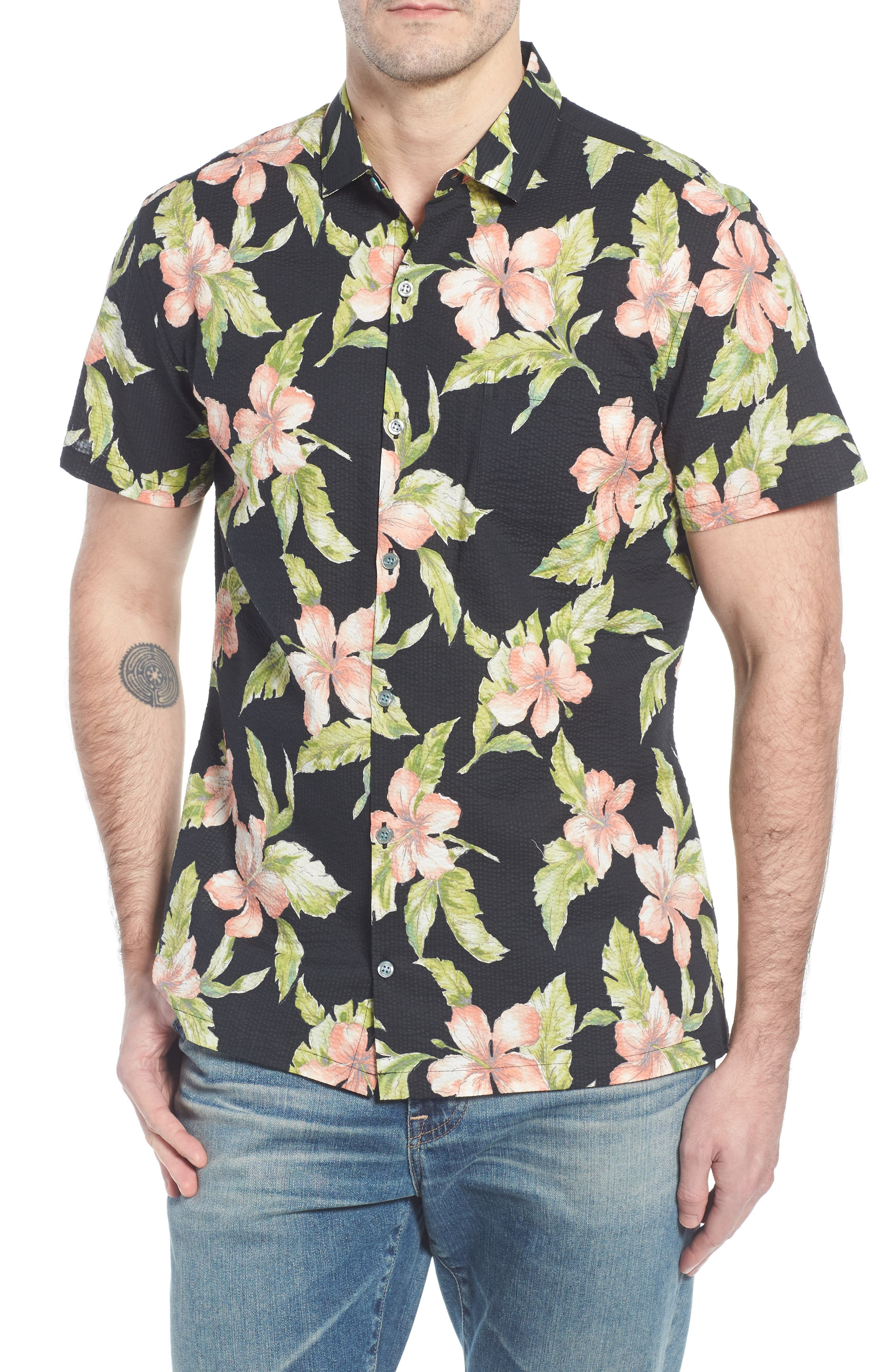 Bahia Trim Fit Camp Shirt,                             Main thumbnail 1, color,                             Black