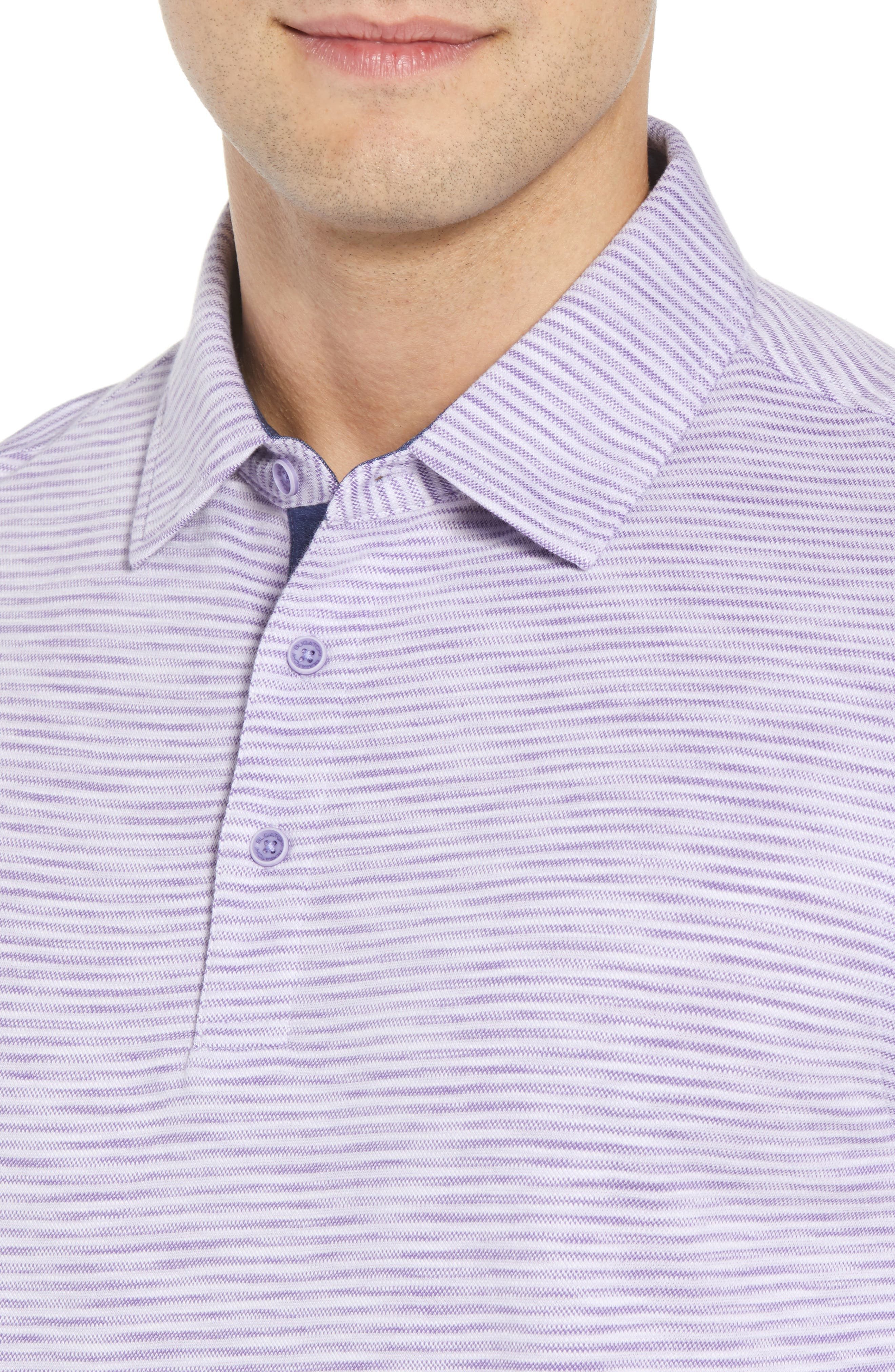 Marled Stripe Polo,                             Alternate thumbnail 4, color,                             Orchid