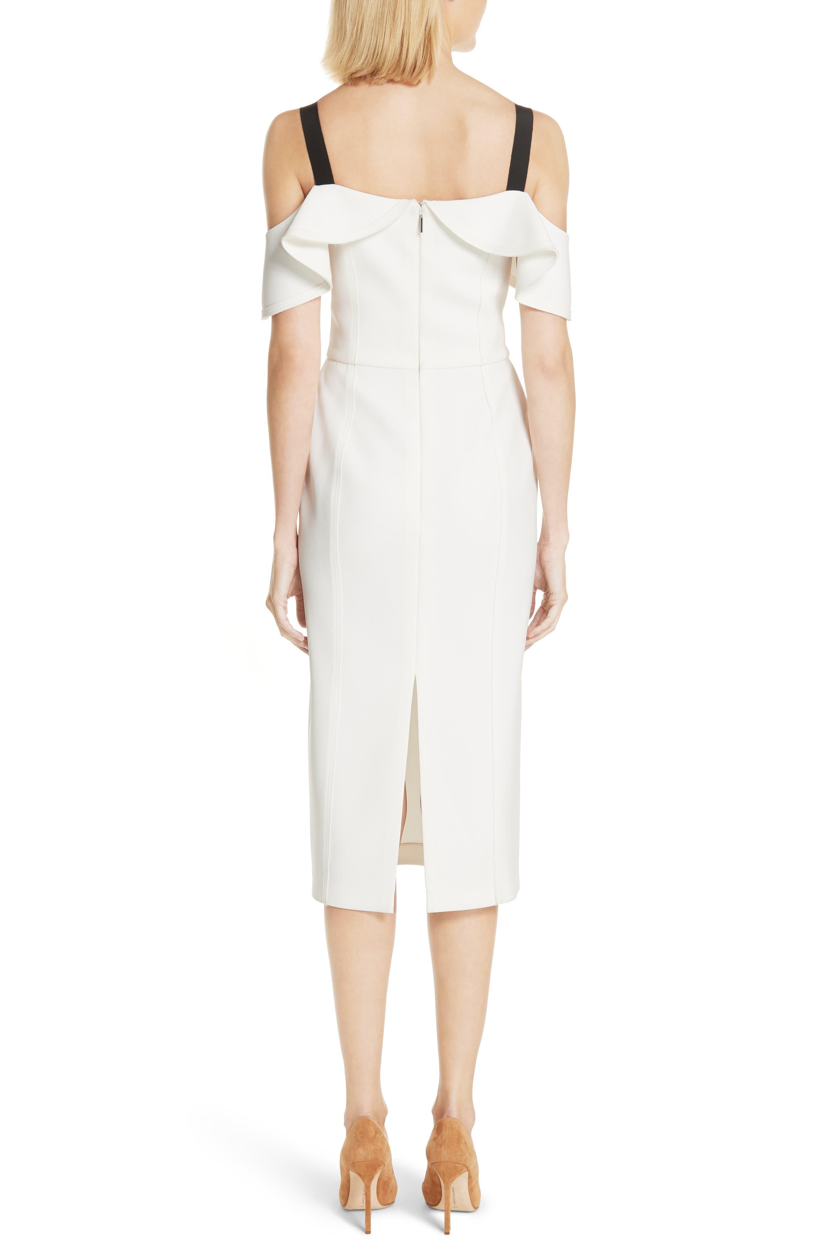 Cold Shoulder Crepe Sheath Dress,                             Alternate thumbnail 2, color,                             Chalk