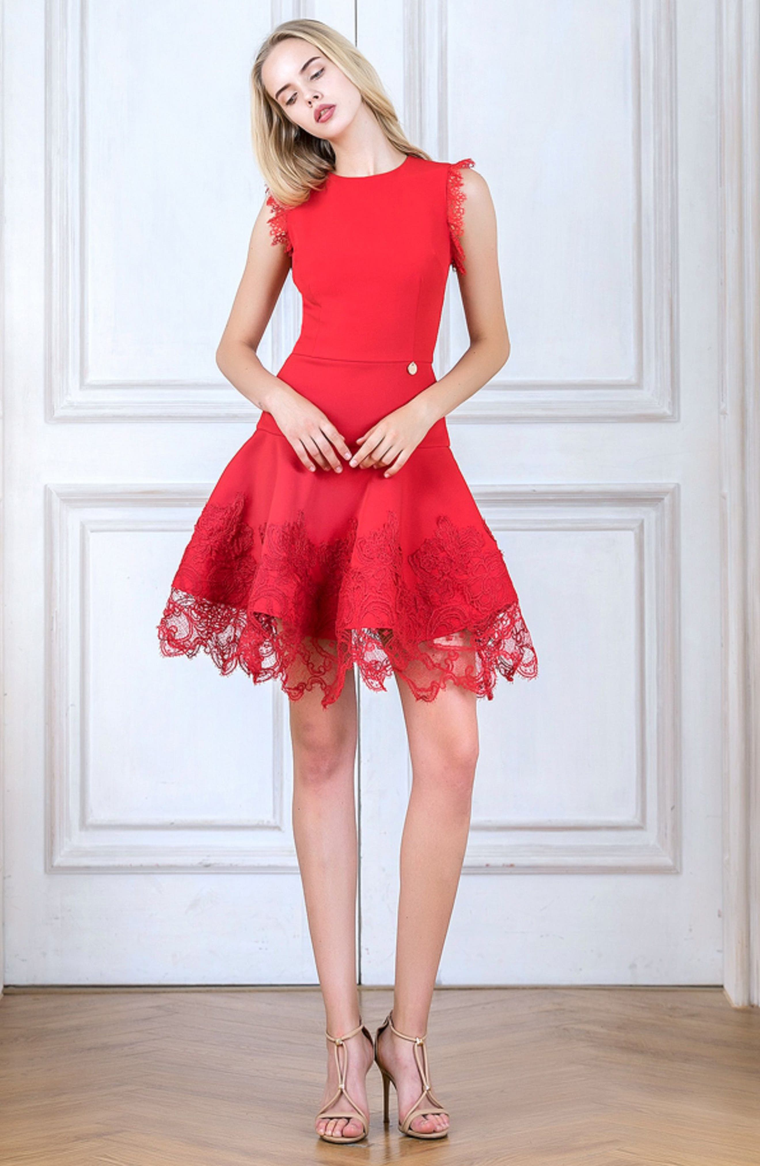 Antonia Fit & Flare Dress,                             Alternate thumbnail 7, color,