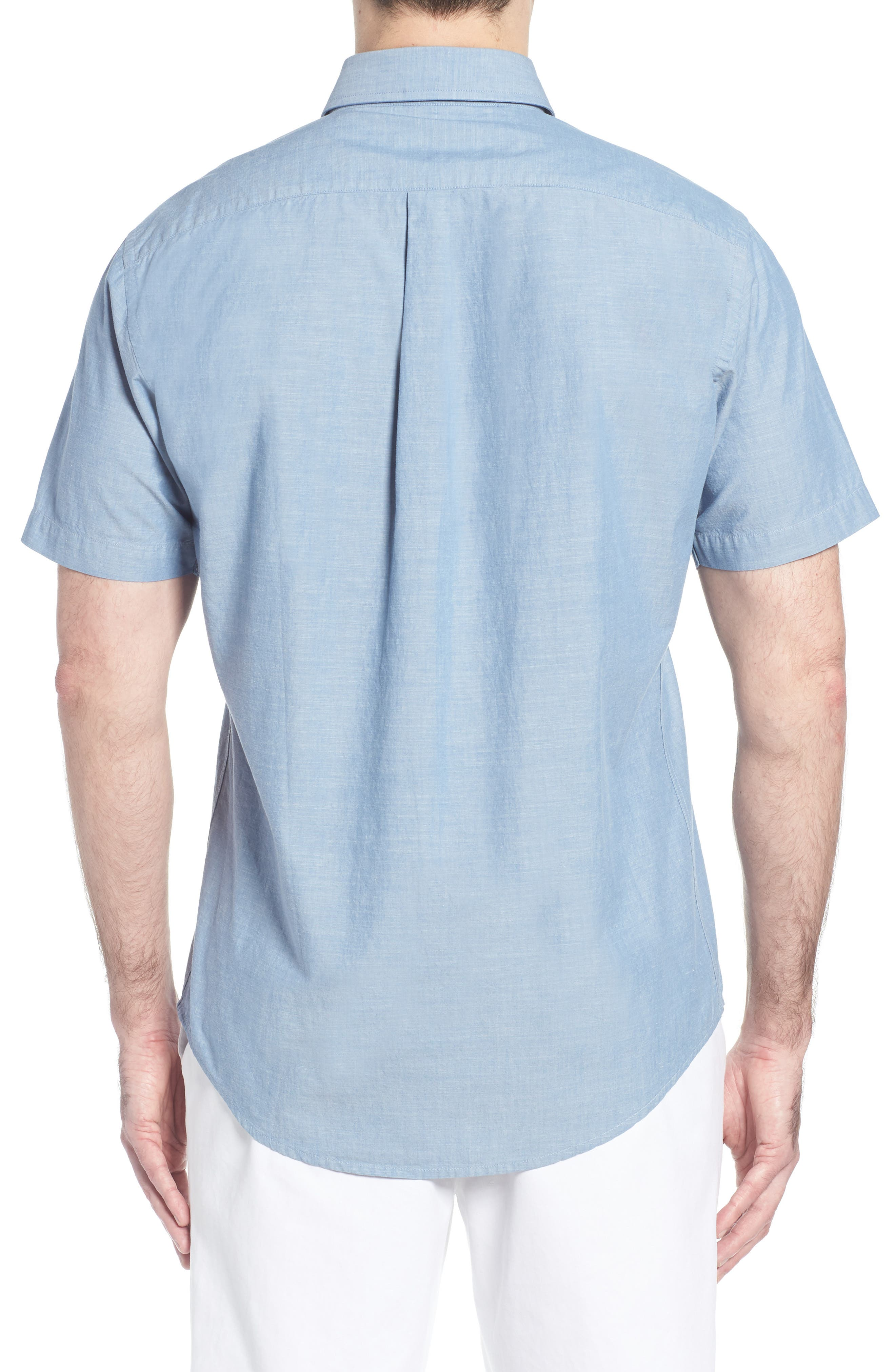 Heritage Chambray Sport Shirt,                             Alternate thumbnail 5, color,                             Tar Heel Blue