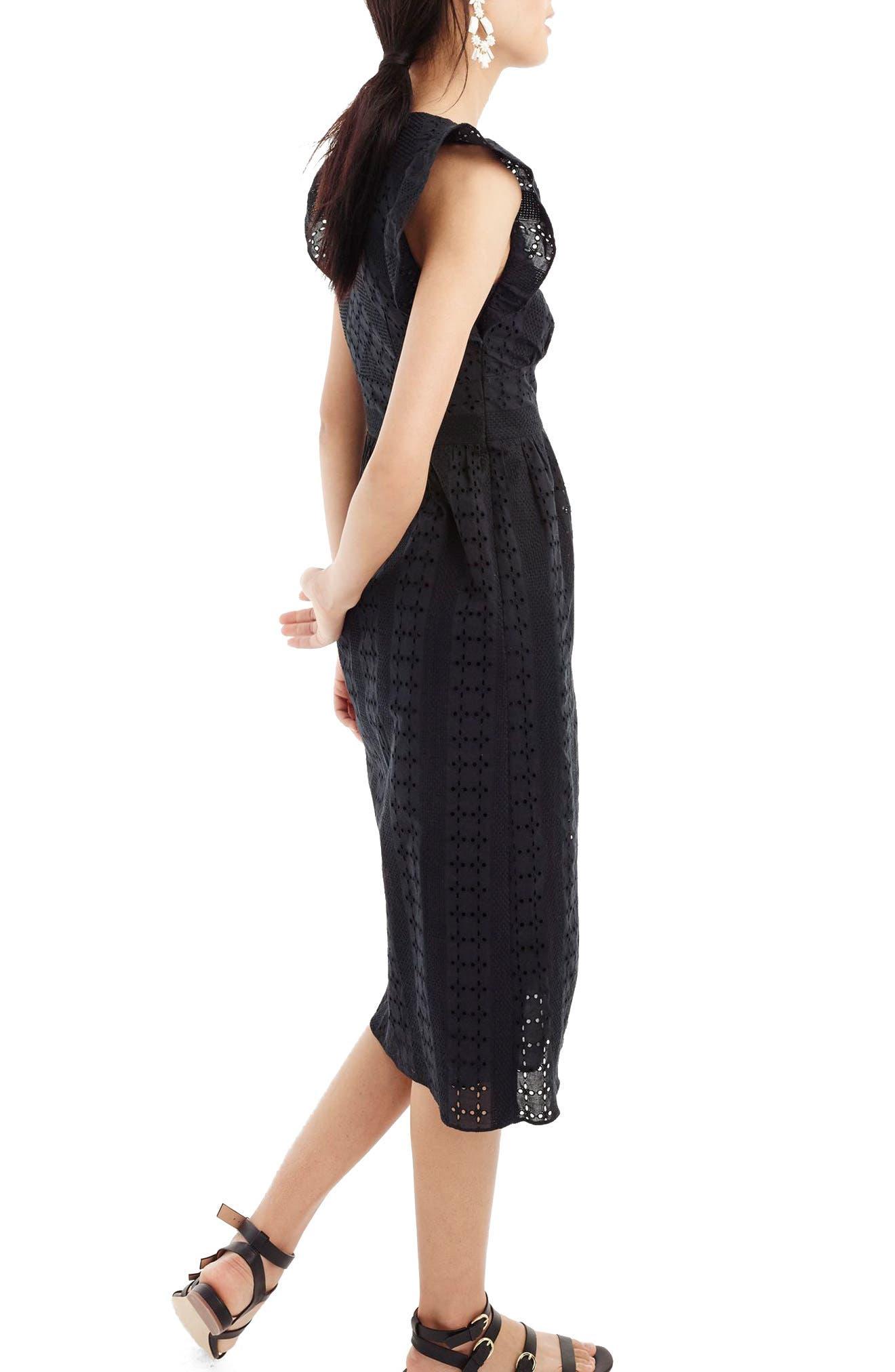 J.Crew Ruffle Sleeve Eyelet Dress,                             Alternate thumbnail 2, color,                             Black