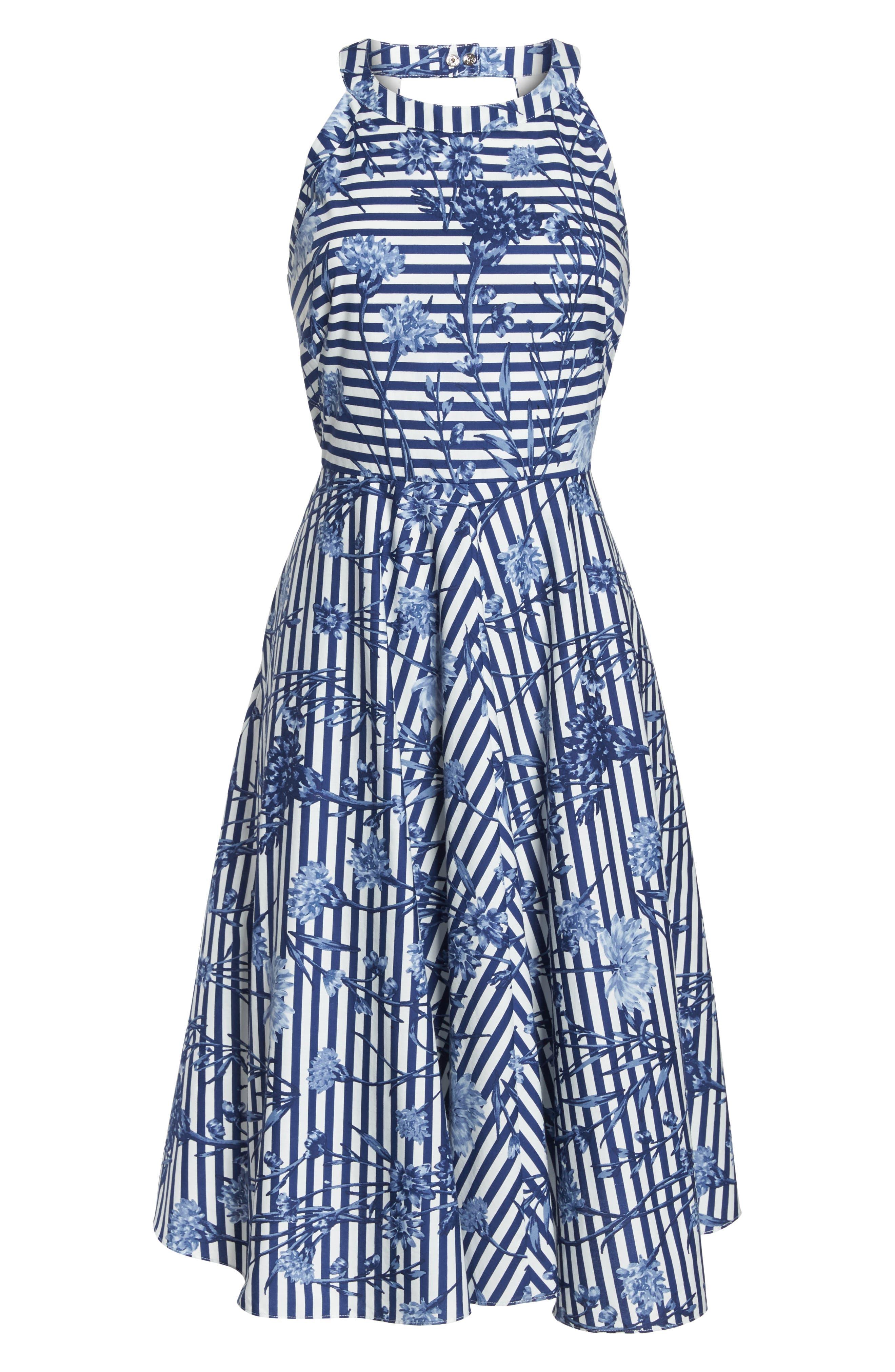 Floral Stripe Halter Fit & Flare Poplin Dress,                             Alternate thumbnail 7, color,                             Blue/ White