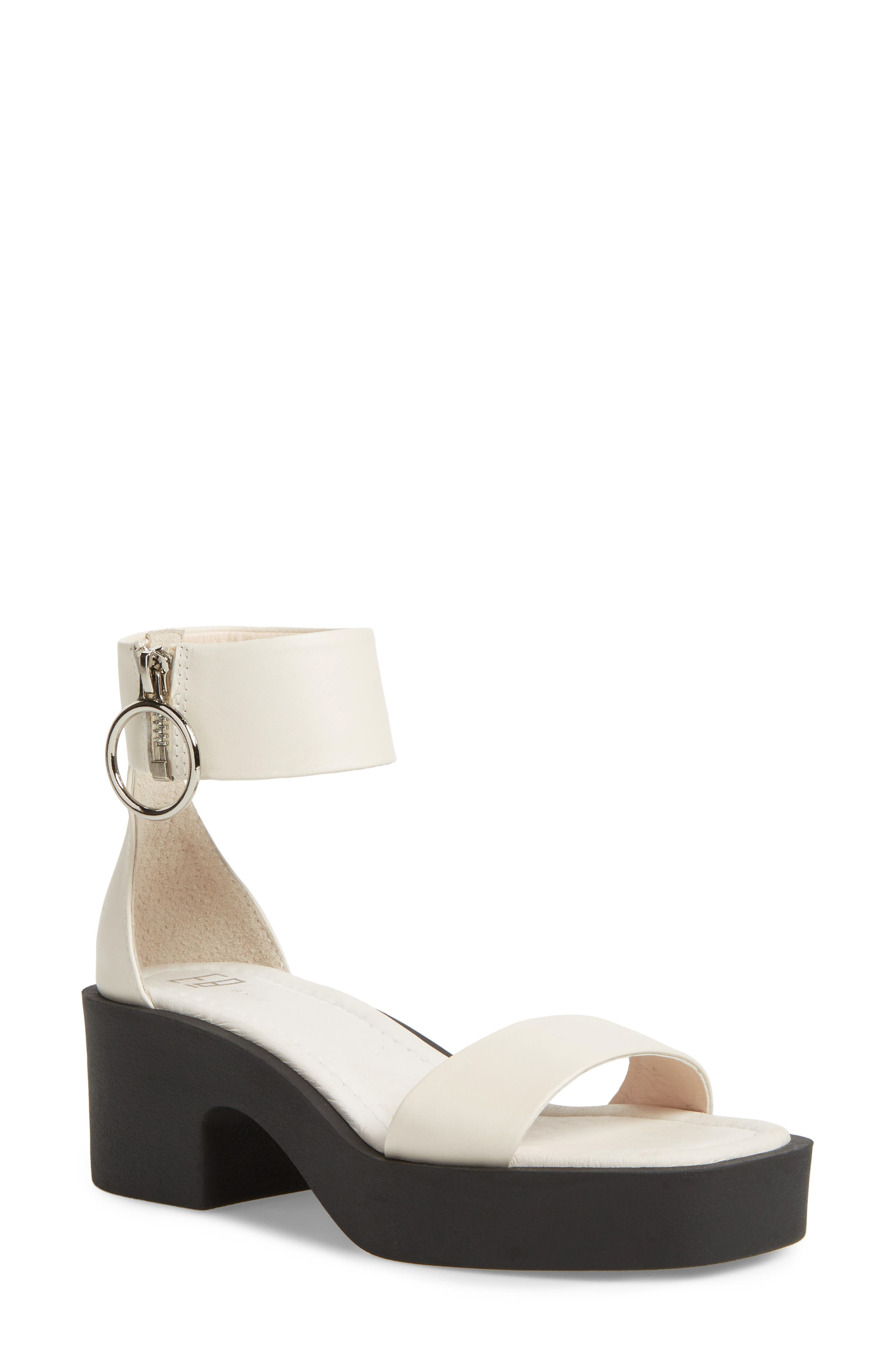 Savannah Cuff Platform Sandal,                         Main,                         color, Cream Leather