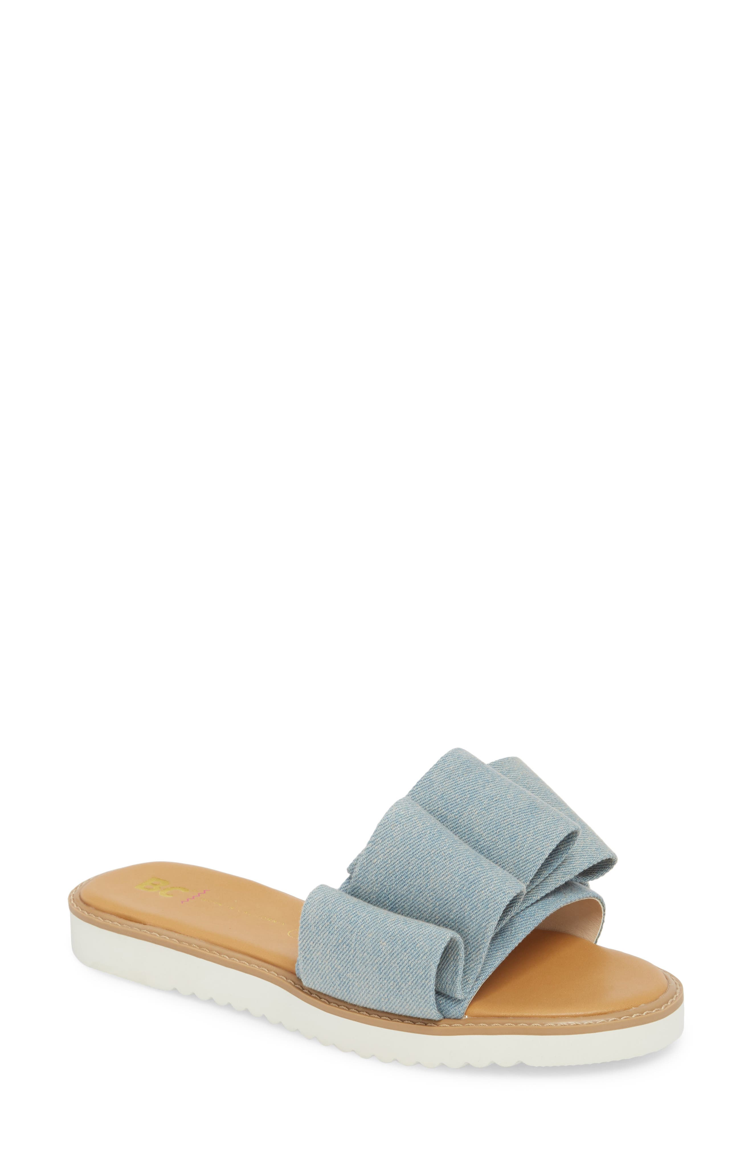 Fun for All Ages Pleated Sandal,                             Main thumbnail 1, color,                             Light Blue Denim