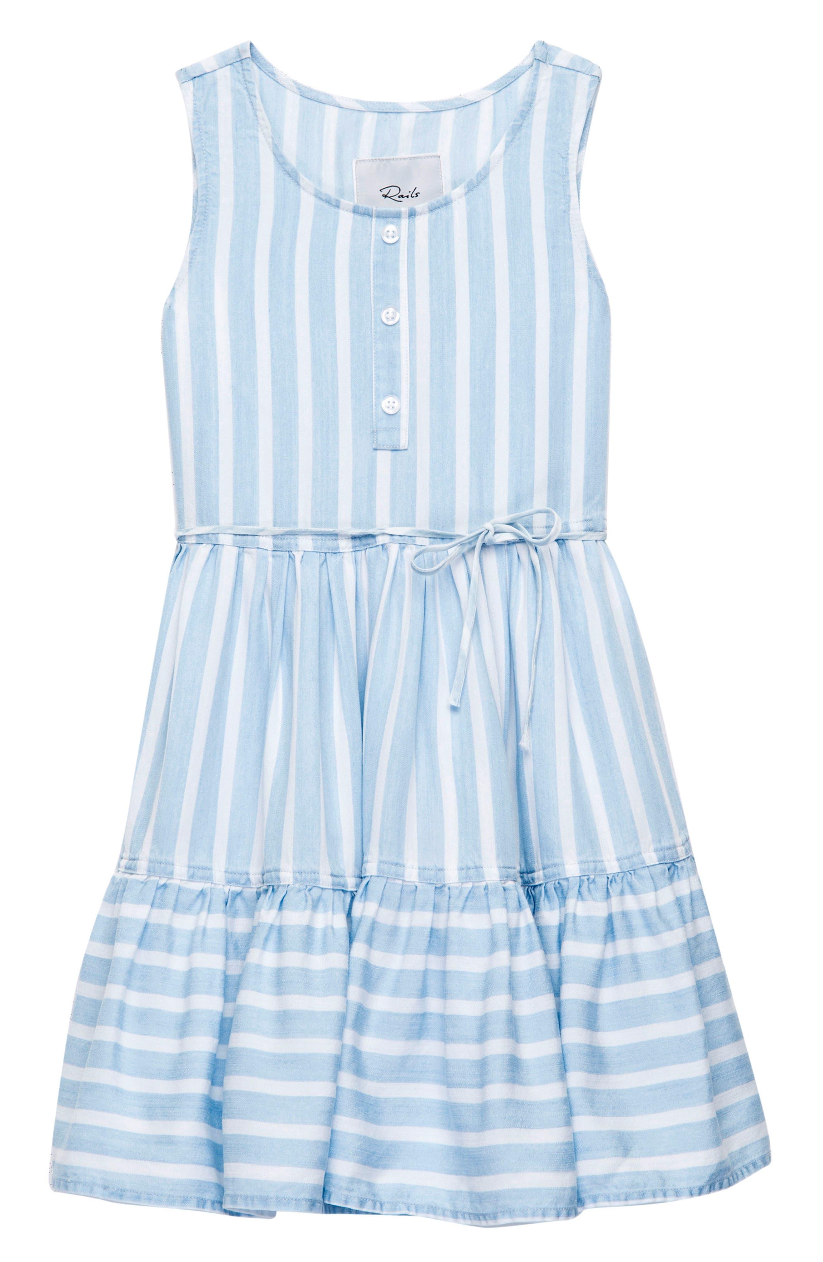 Katie Stripe Ruffle Hem Dress,                             Main thumbnail 1, color,                             Hampshire Stripe