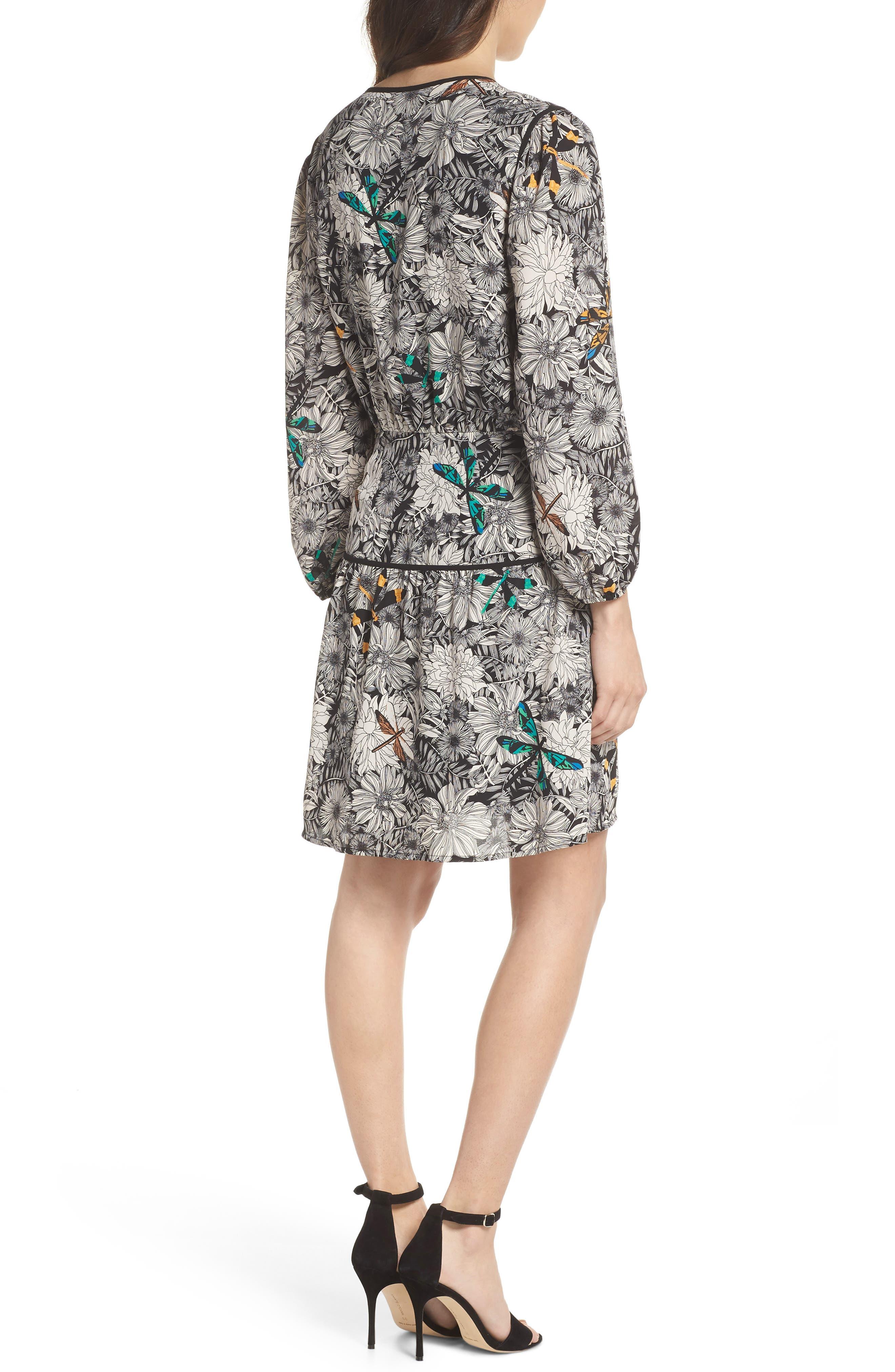 Print Blouson Dress,                             Alternate thumbnail 2, color,                             Black Multi