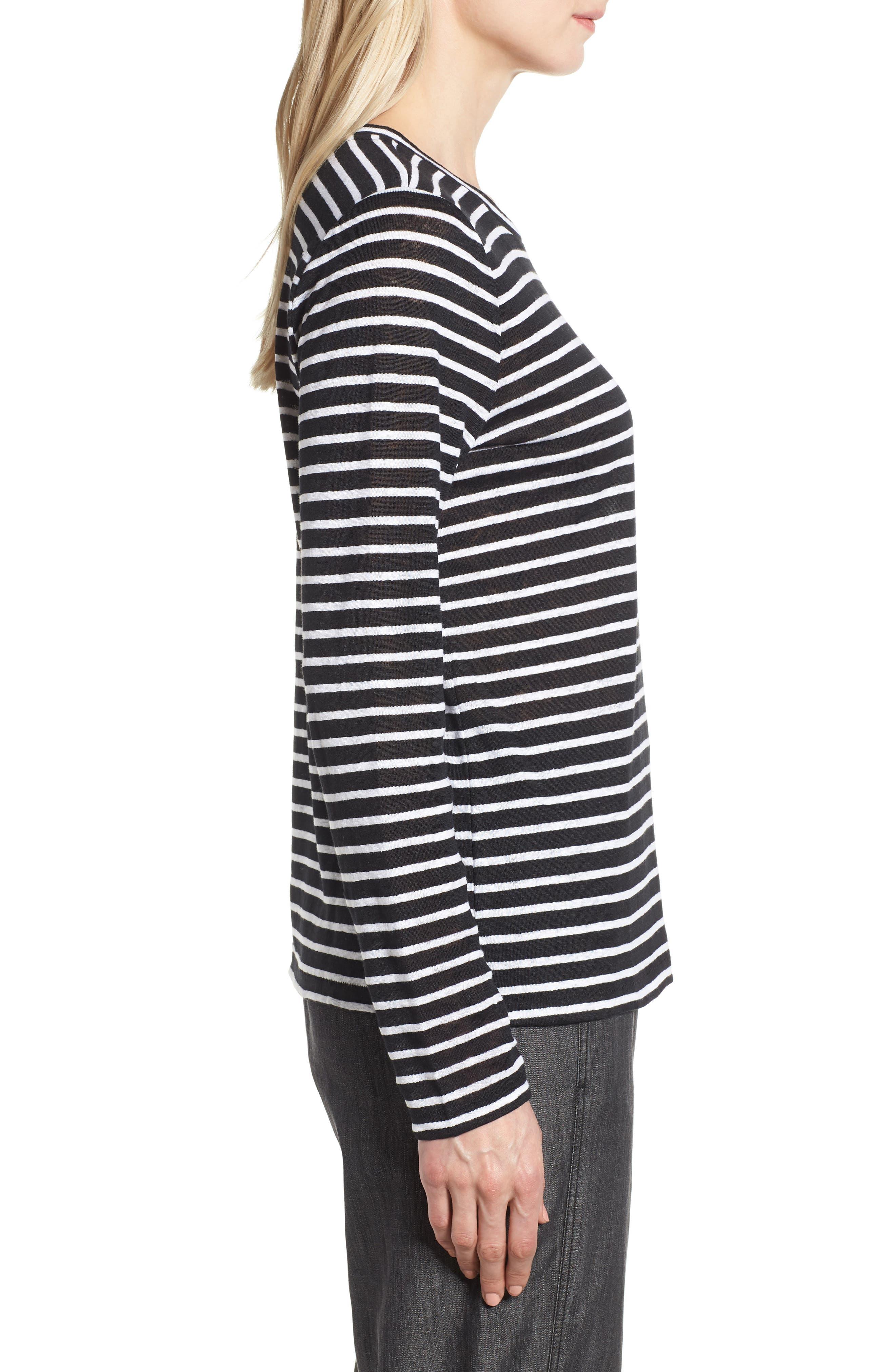 Stripe Organic Linen Top,                             Alternate thumbnail 3, color,                             Black/ White
