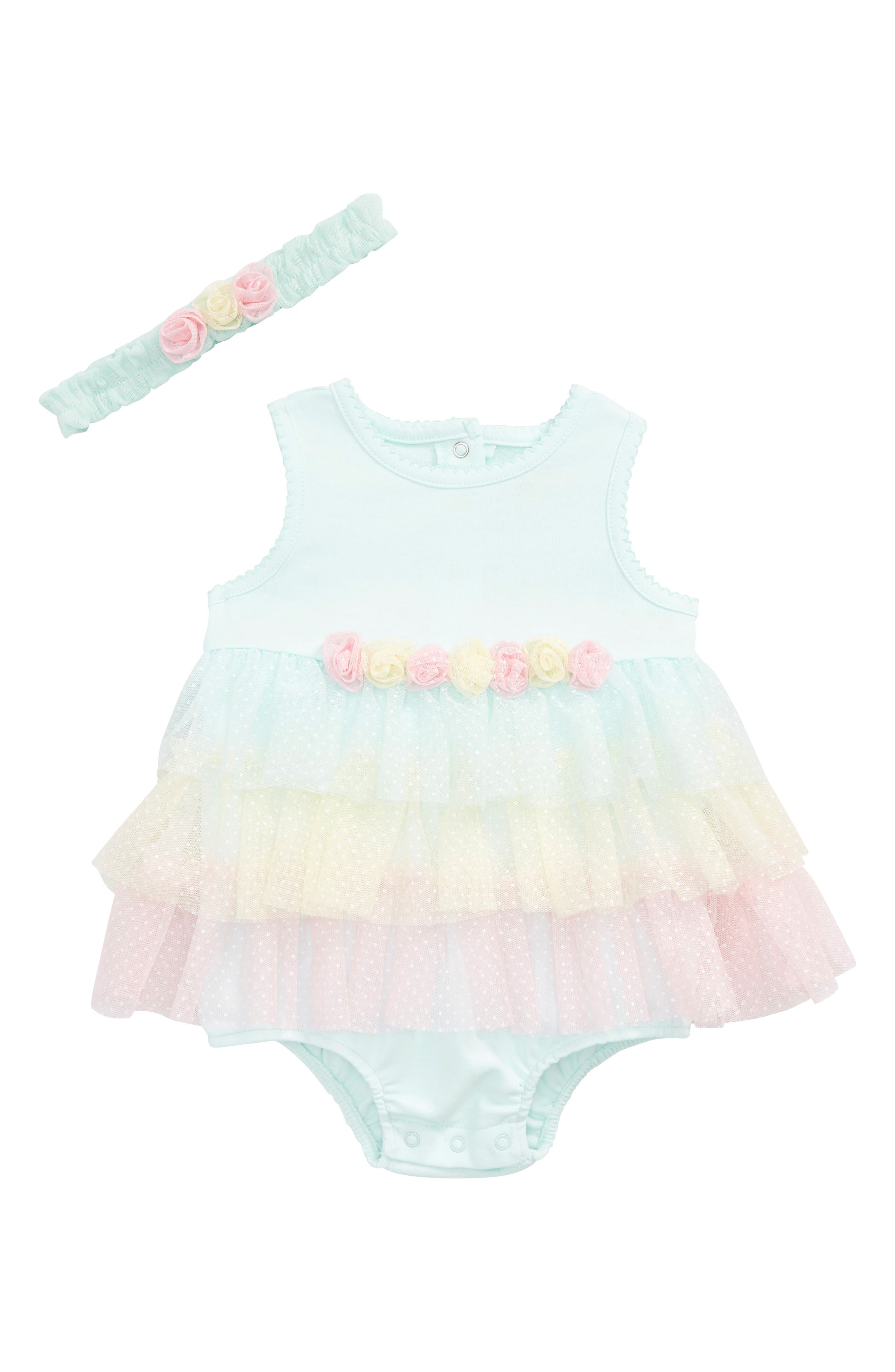 Little Me Aqua Tier Popover Tulle Bodysuit & Headband Set (Baby Girls)