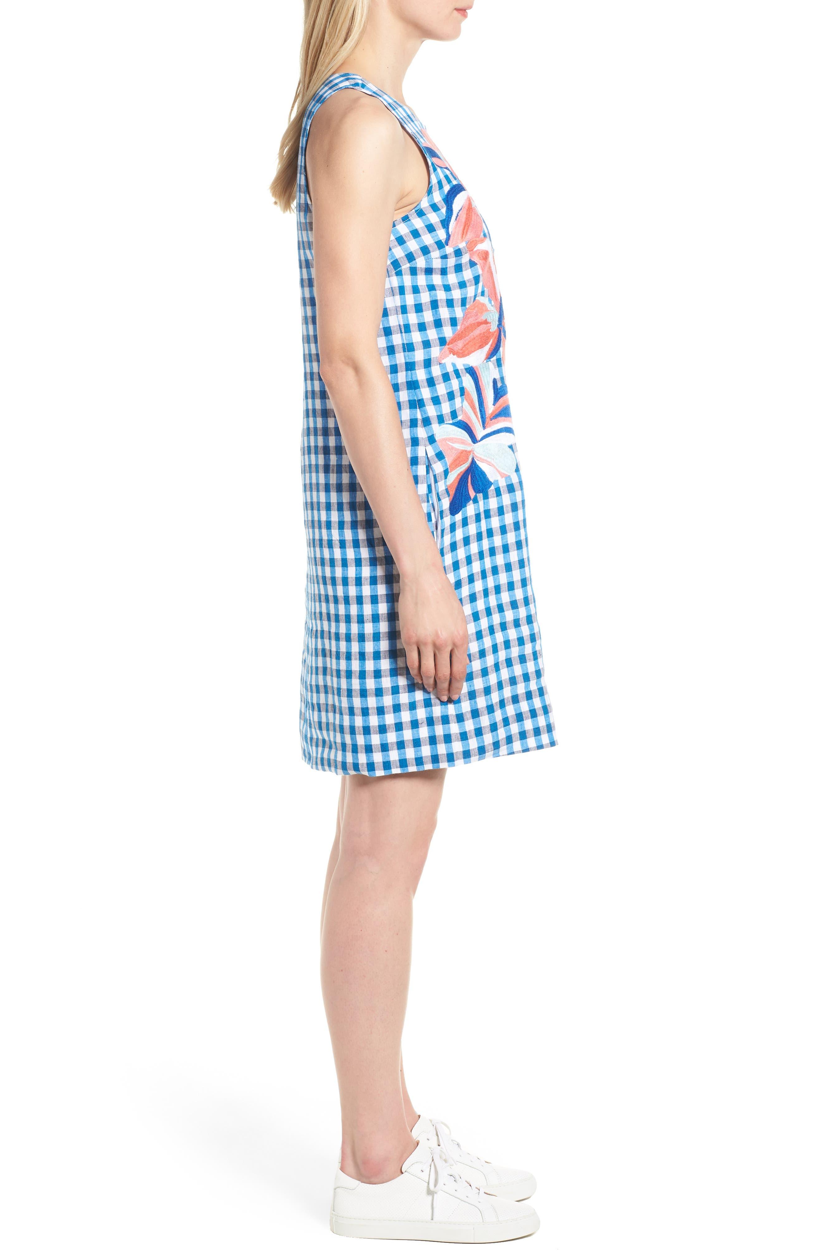 Gingham Shift Dress,                             Alternate thumbnail 3, color,                             Blue Aster