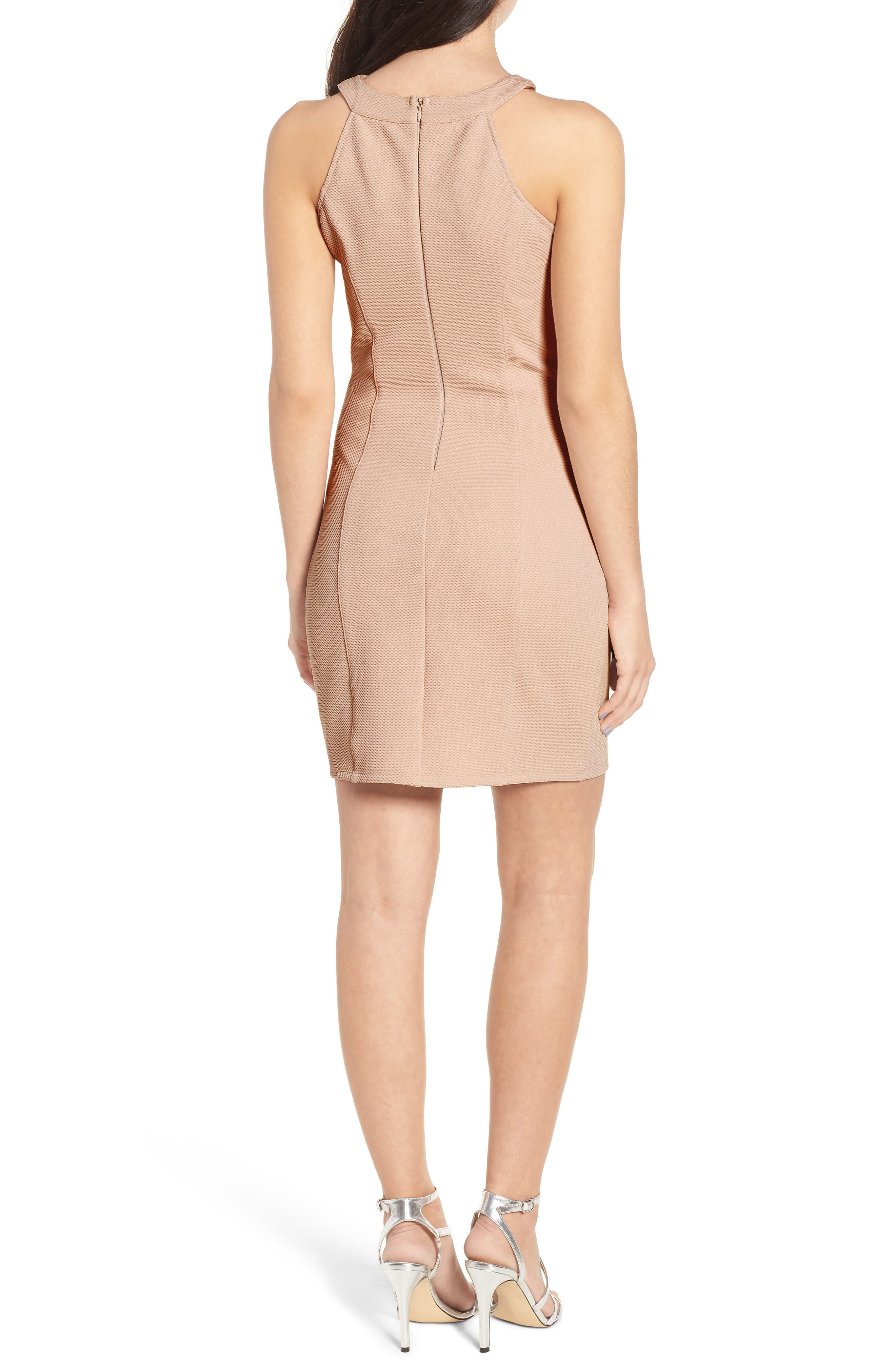 Piqué Body-Con Dress,                             Alternate thumbnail 2, color,                             Pale Pink