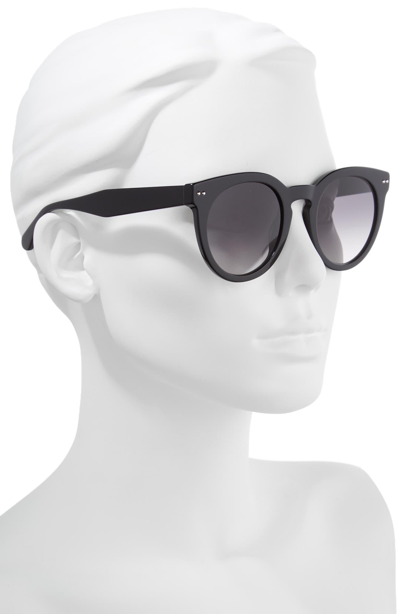 alexuss 50mm round sunglasses,                             Alternate thumbnail 2, color,                             Black