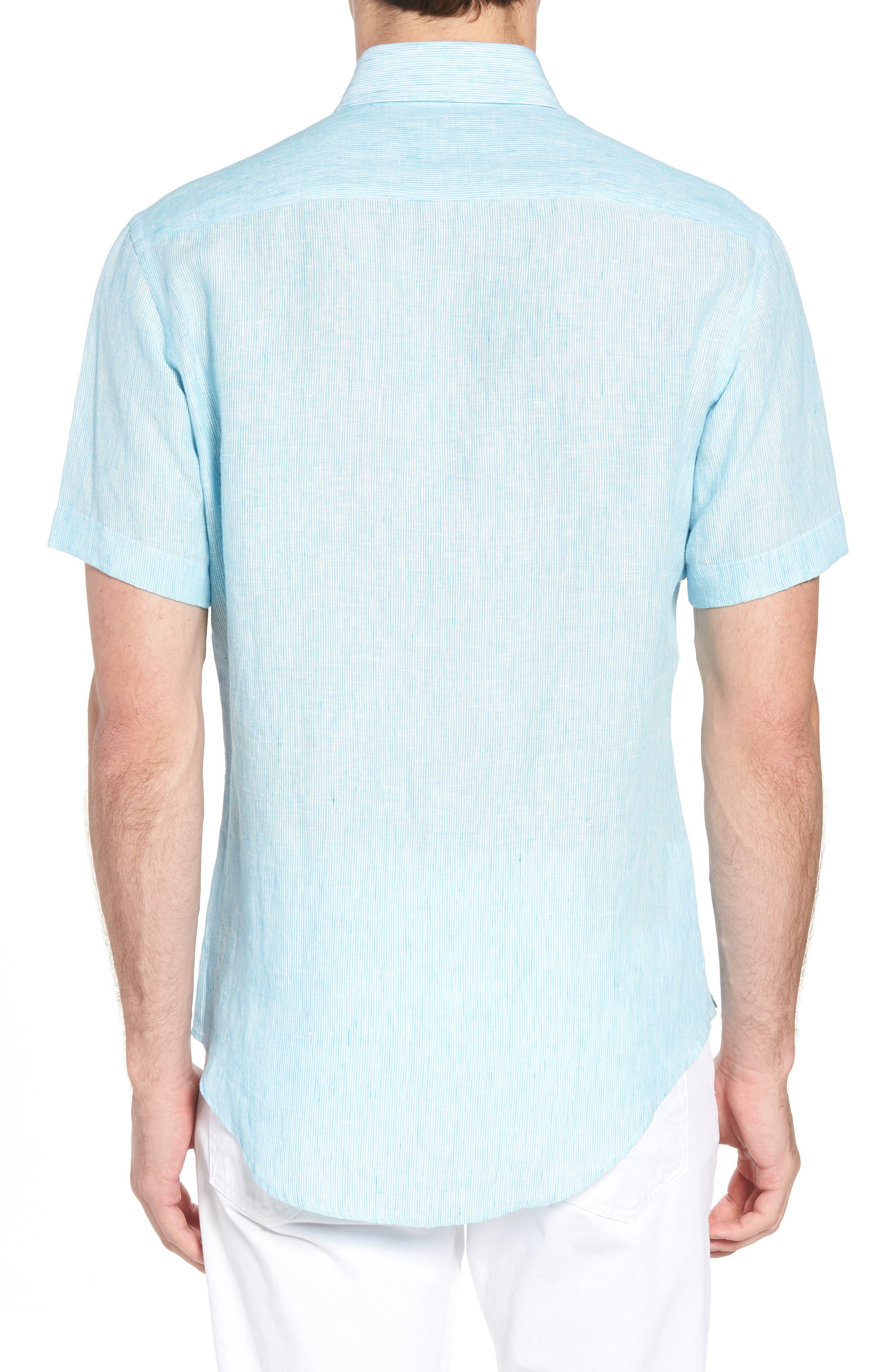 Willington Stripe Classic Fit Linen Sport Shirt,                             Alternate thumbnail 3, color,                             Pool Blue