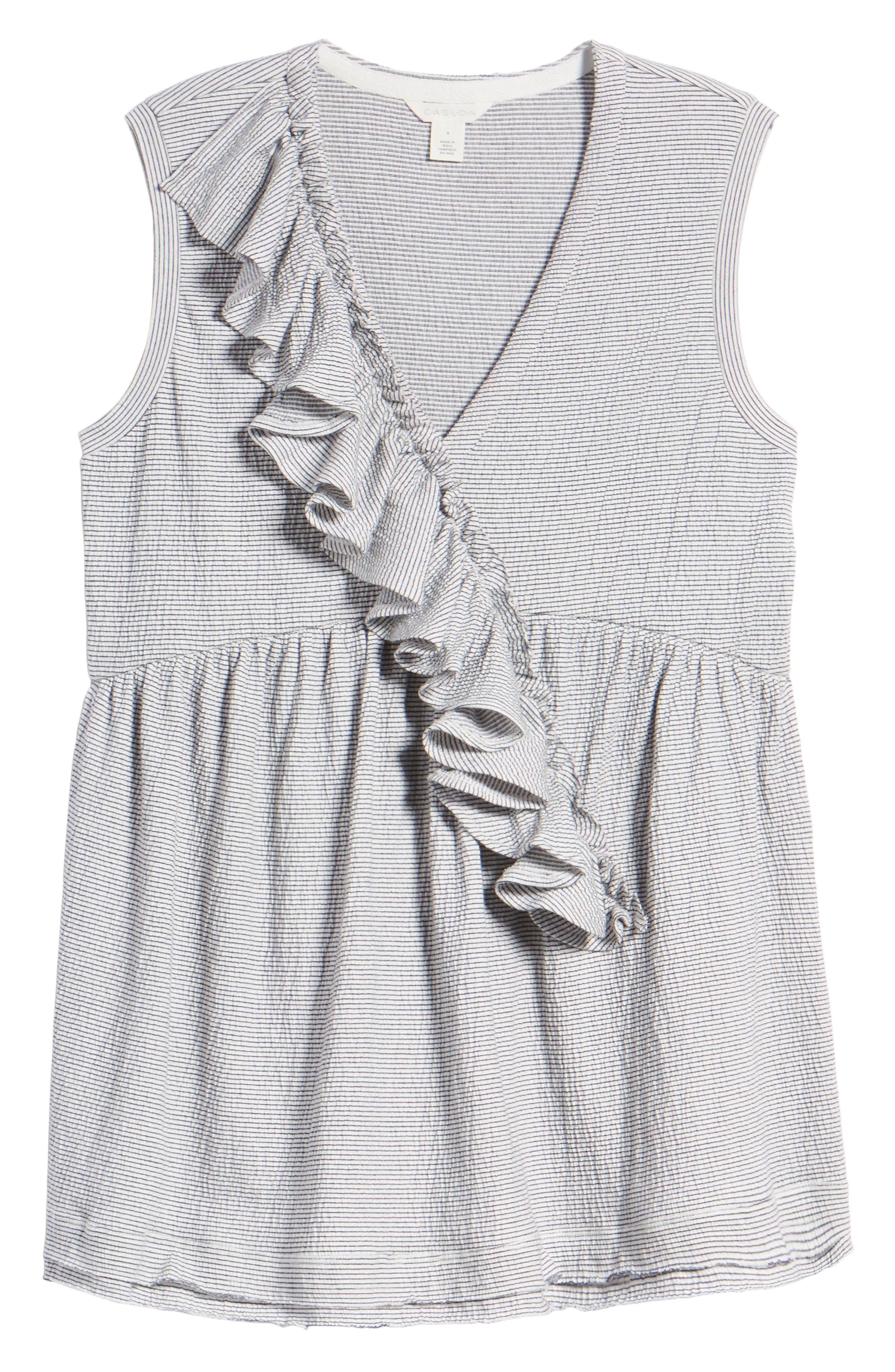Ruffle Knit Top,                             Alternate thumbnail 7, color,                             Ivory- Navy Lynn Stripe