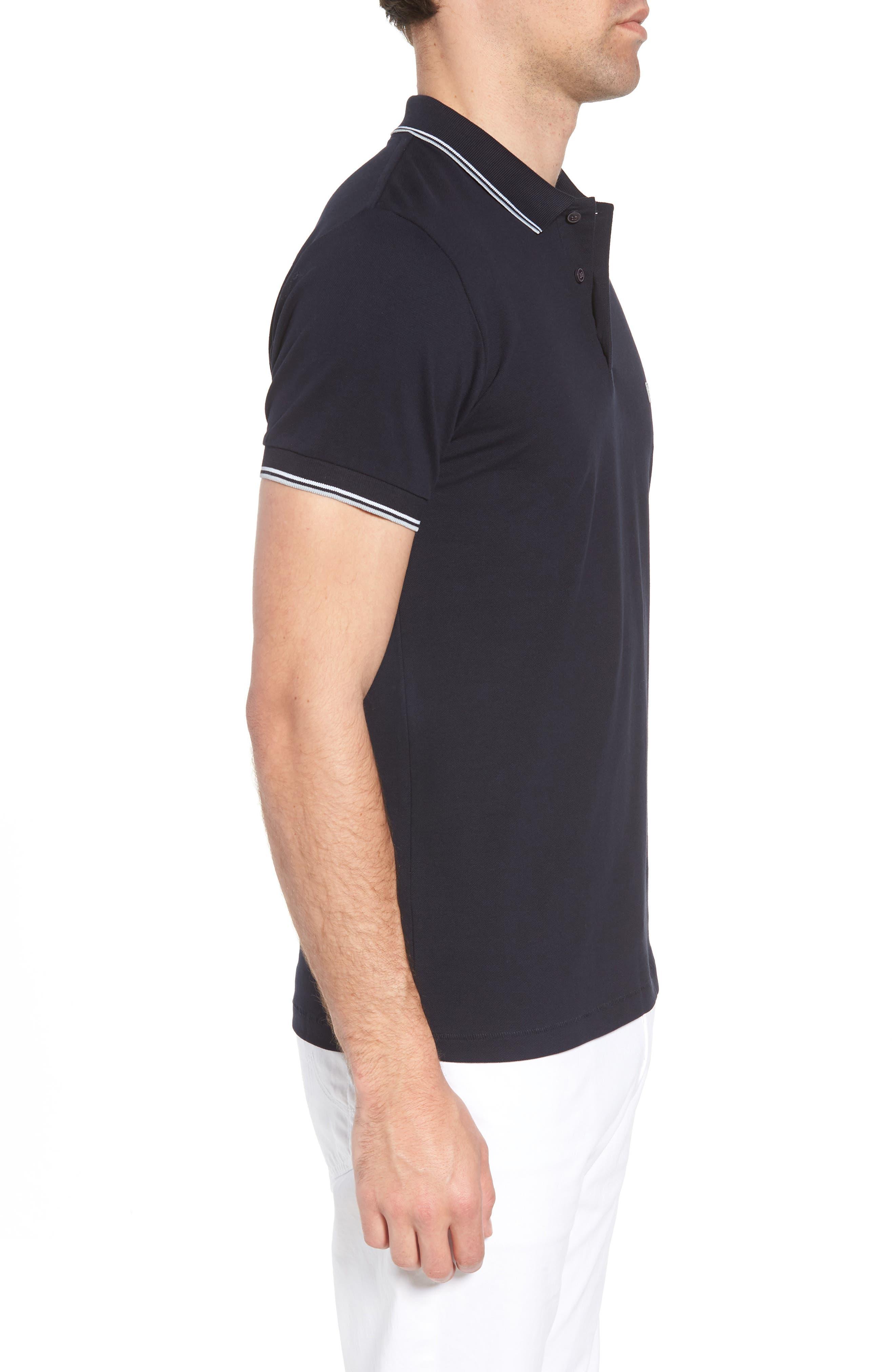 Cotton Polo Shirt,                             Alternate thumbnail 3, color,                             Marine Blue