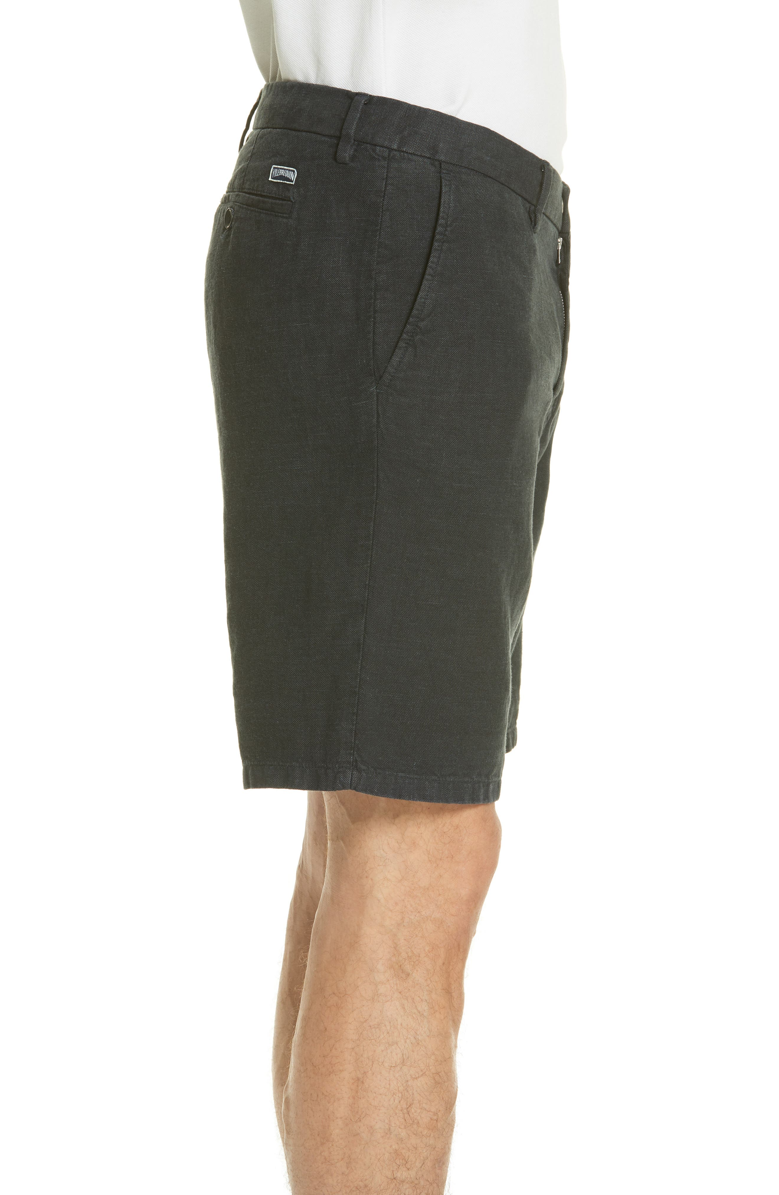 Panama Linen & Cotton Chino Shorts,                             Alternate thumbnail 3, color,                             Squid Ink