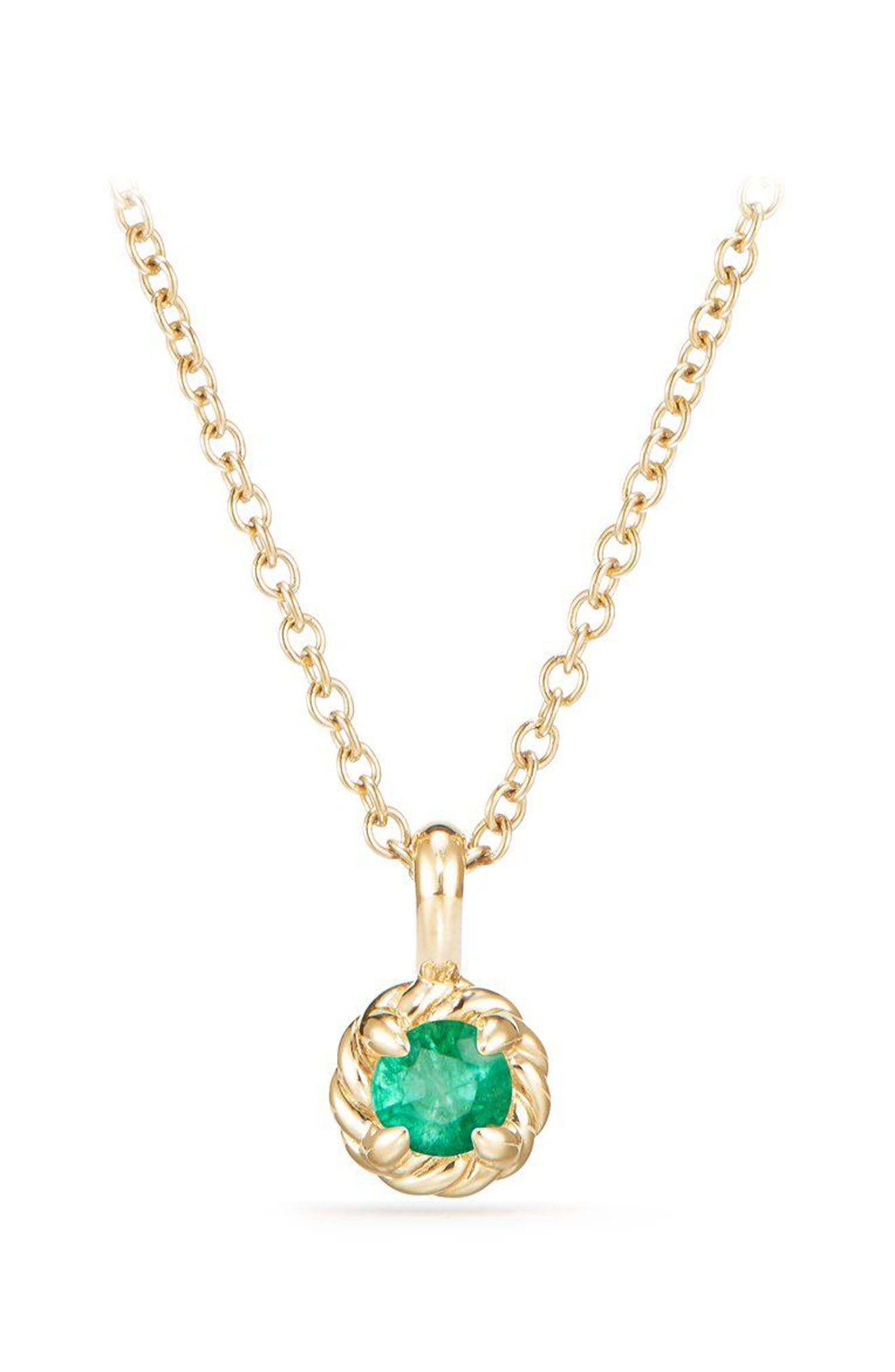 Cable Collectibles<sup>®</sup> Kids' Birthstone Necklace in 18K Gold,                         Main,                         color, Emerald