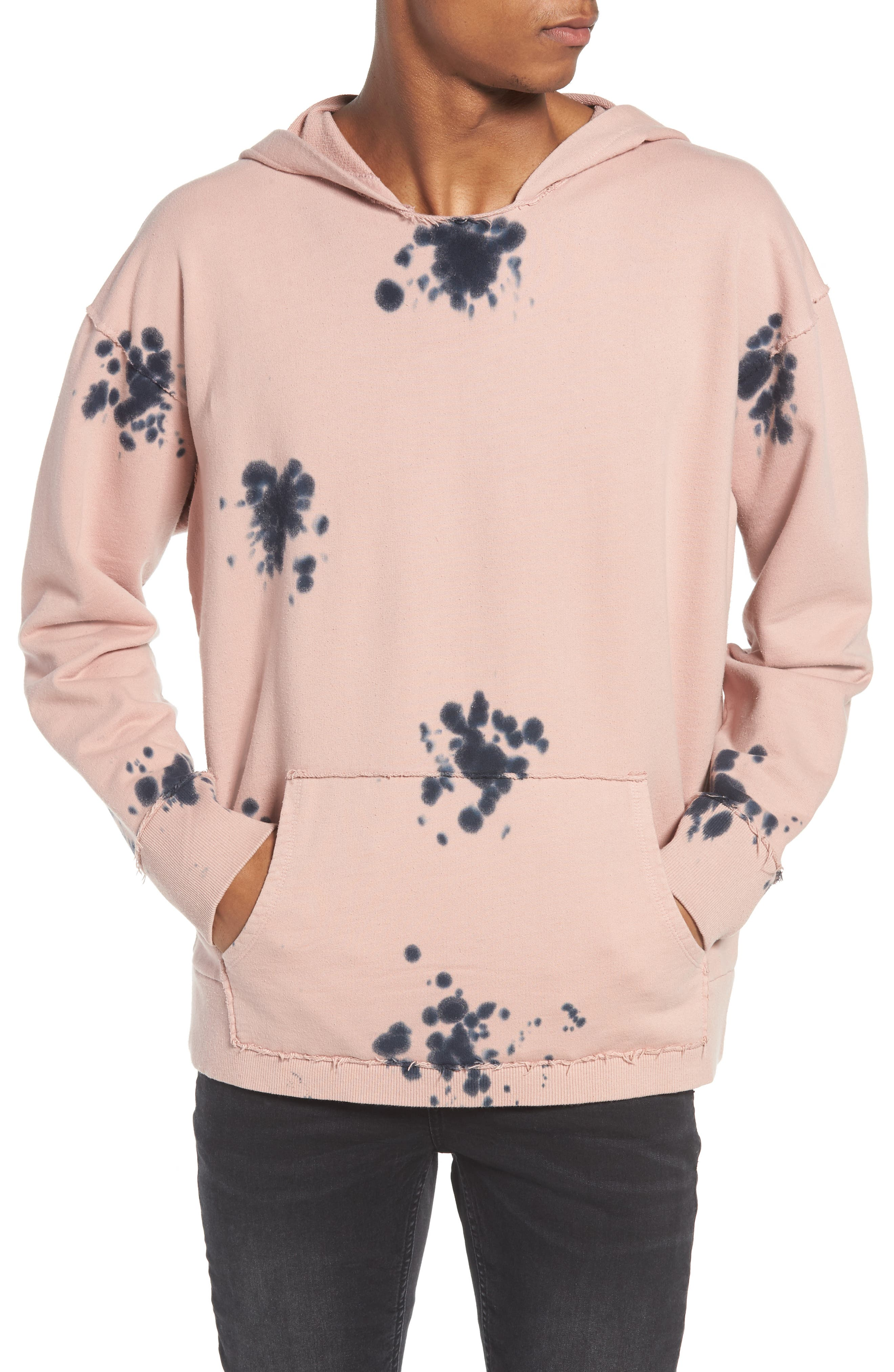 Blotch Tie Dye Terry Hoodie,                         Main,                         color, Pink Silver Navy Blotch Dye