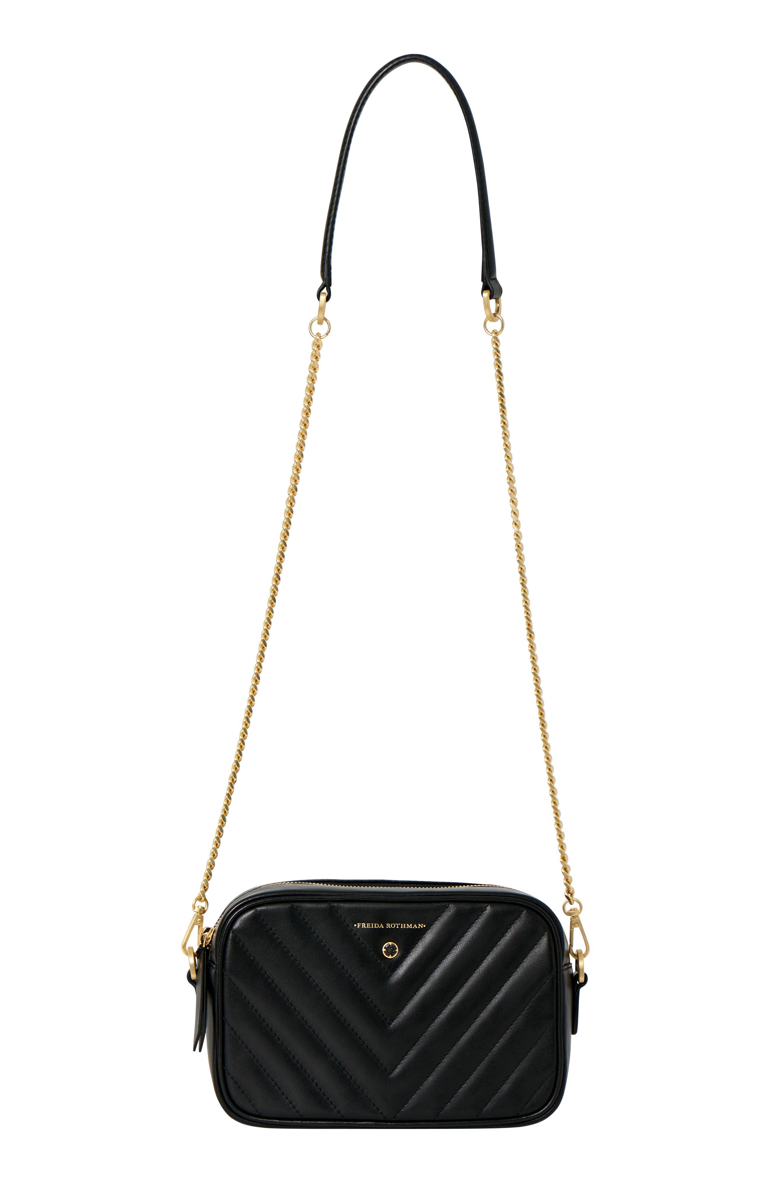 Lexington Quilted Leather Camera Bag,                             Alternate thumbnail 4, color,                             Black