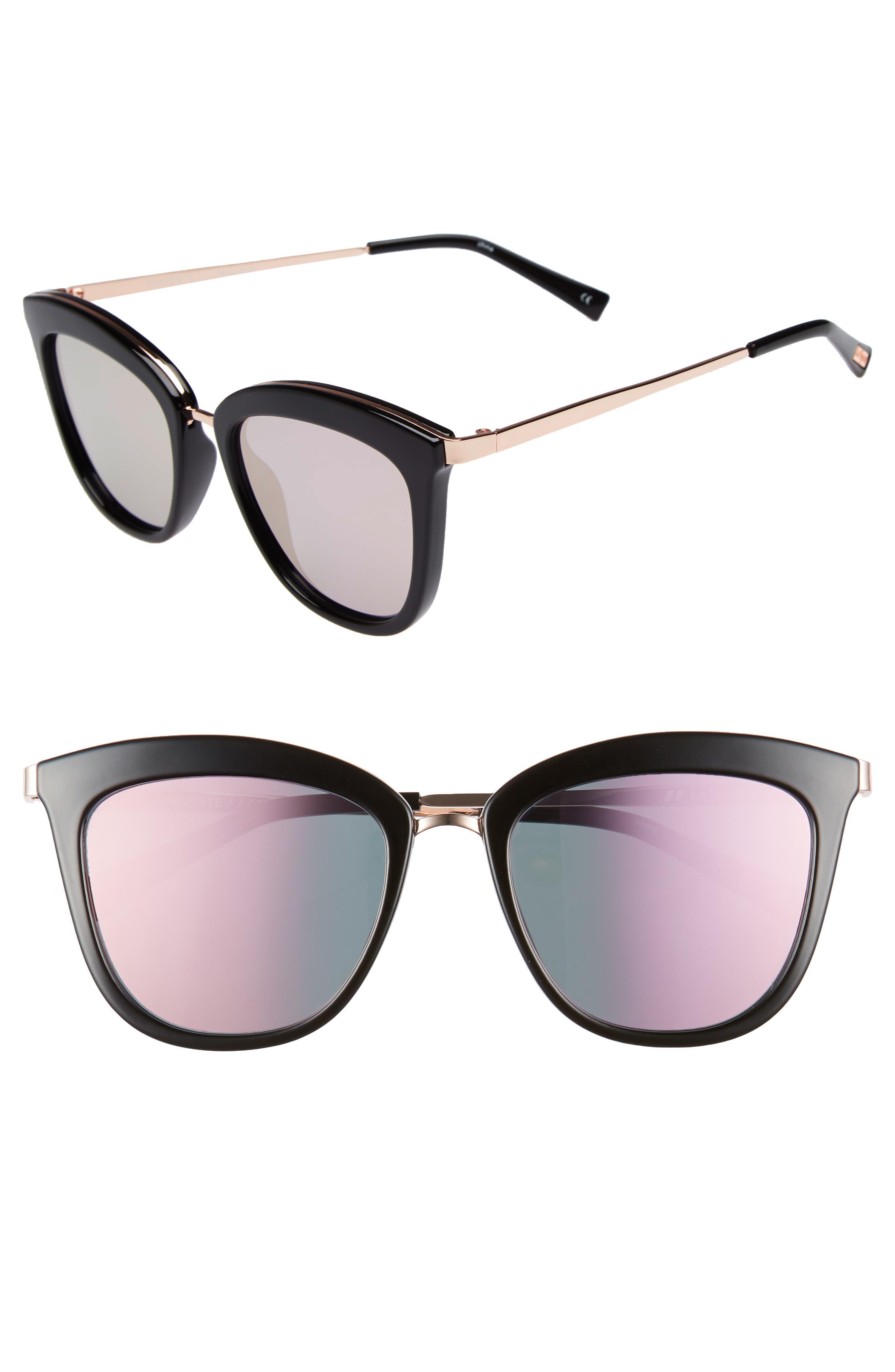 Caliente 53mm Cat Eye Sunglasses,                             Main thumbnail 1, color,                             Black/ Rose Gold