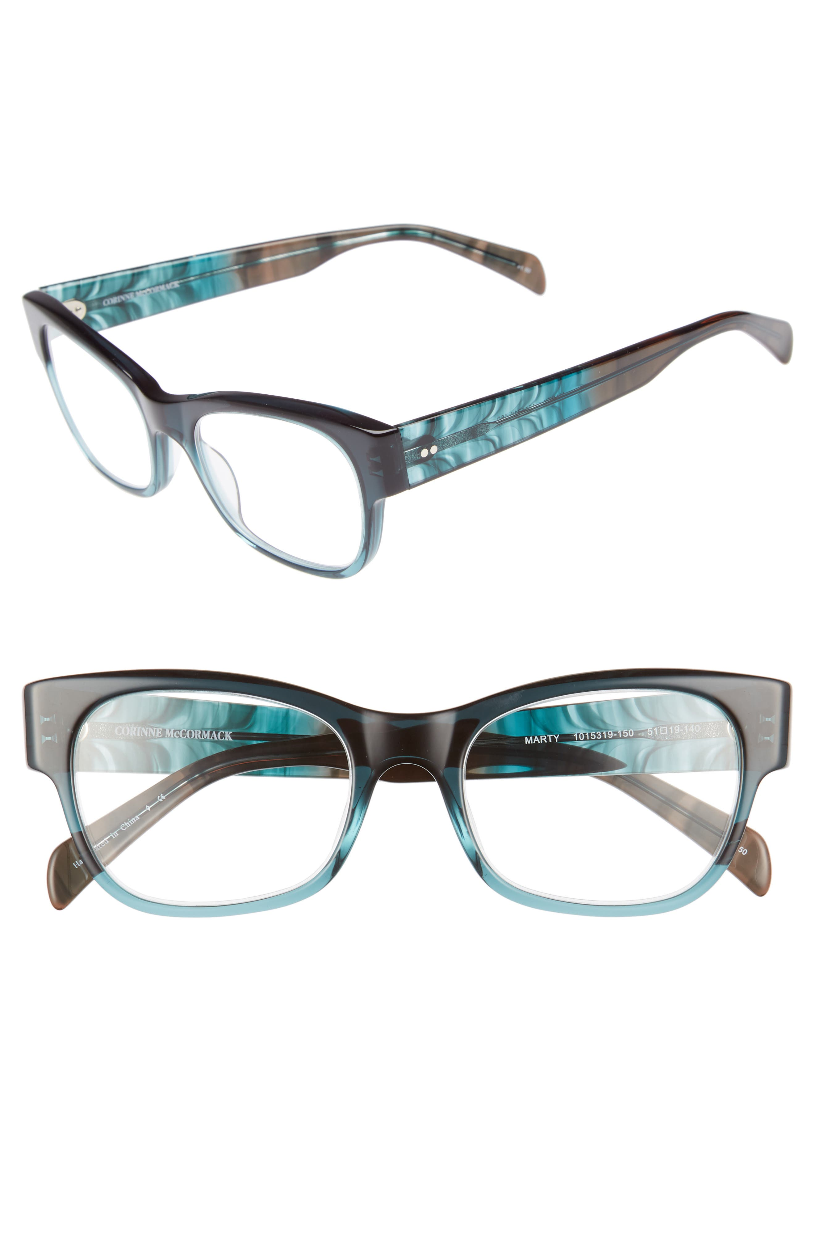 Marty 51mm Reading Glasses,                         Main,                         color, Teal