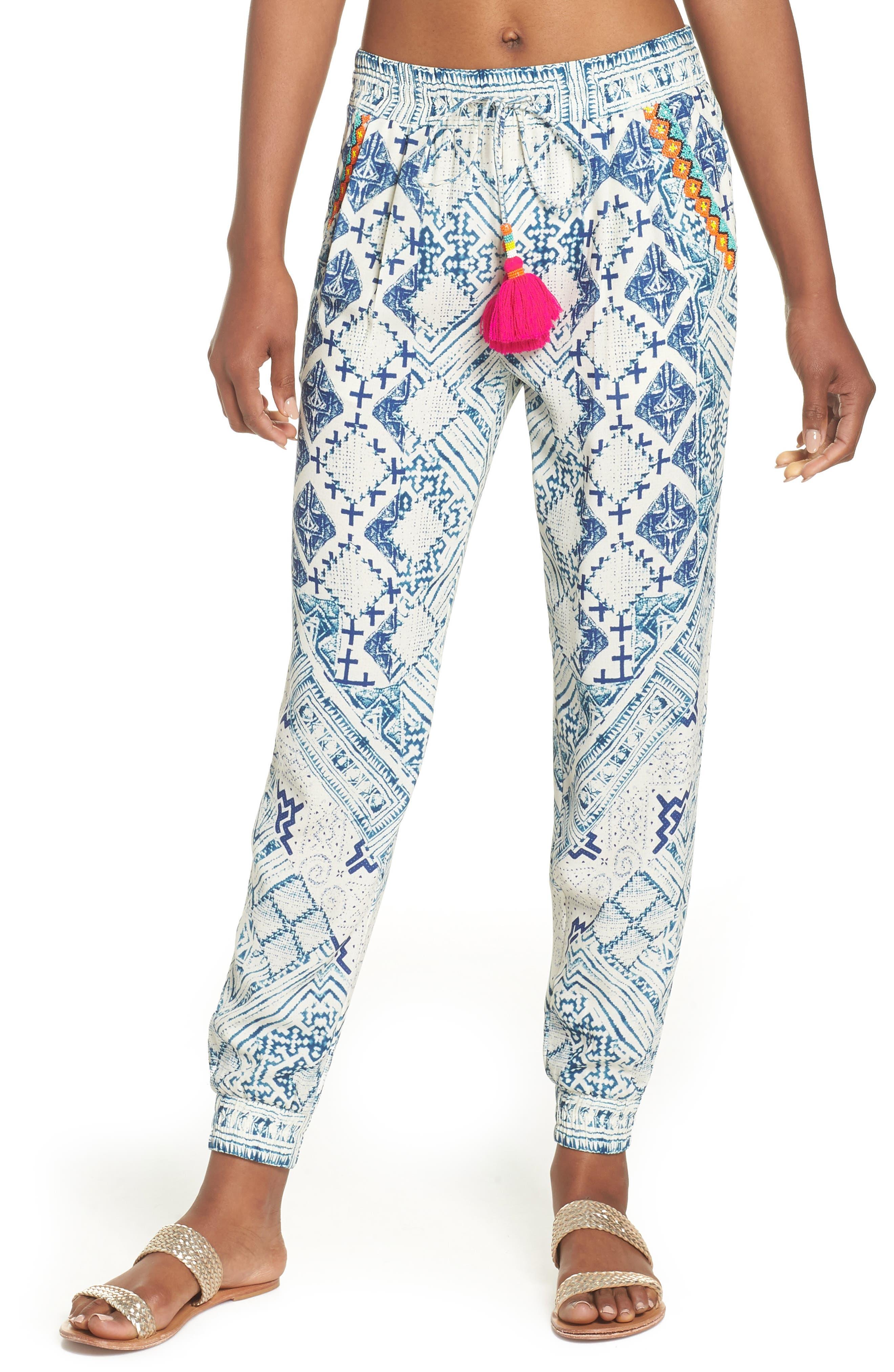 Hemant & Nandita Tasseled Cover-Up Pants,                         Main,                         color, Lucian
