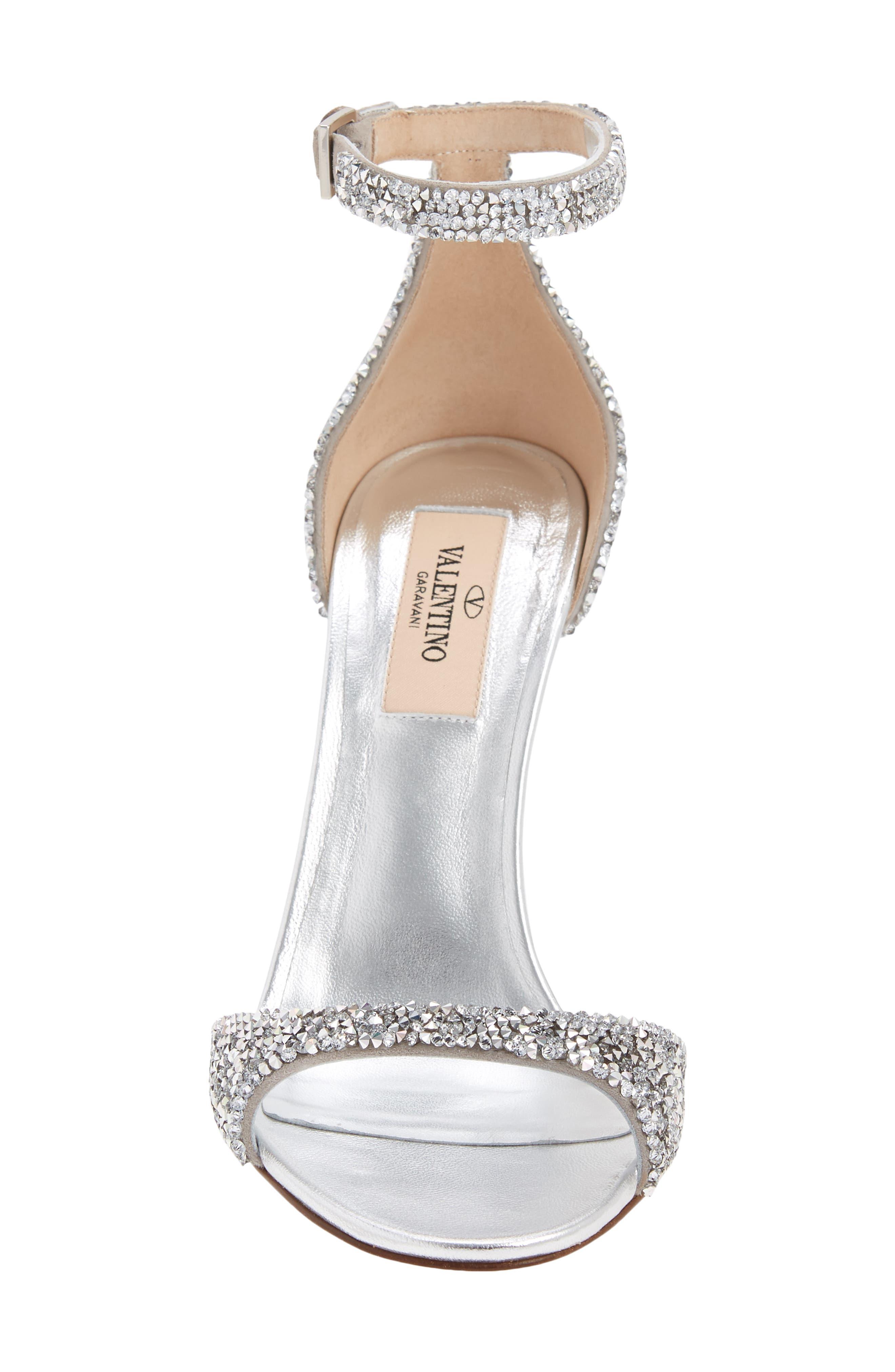 GARAVANI Crystal Embellished Clear Heel Sandal,                             Alternate thumbnail 4, color,                             Silver