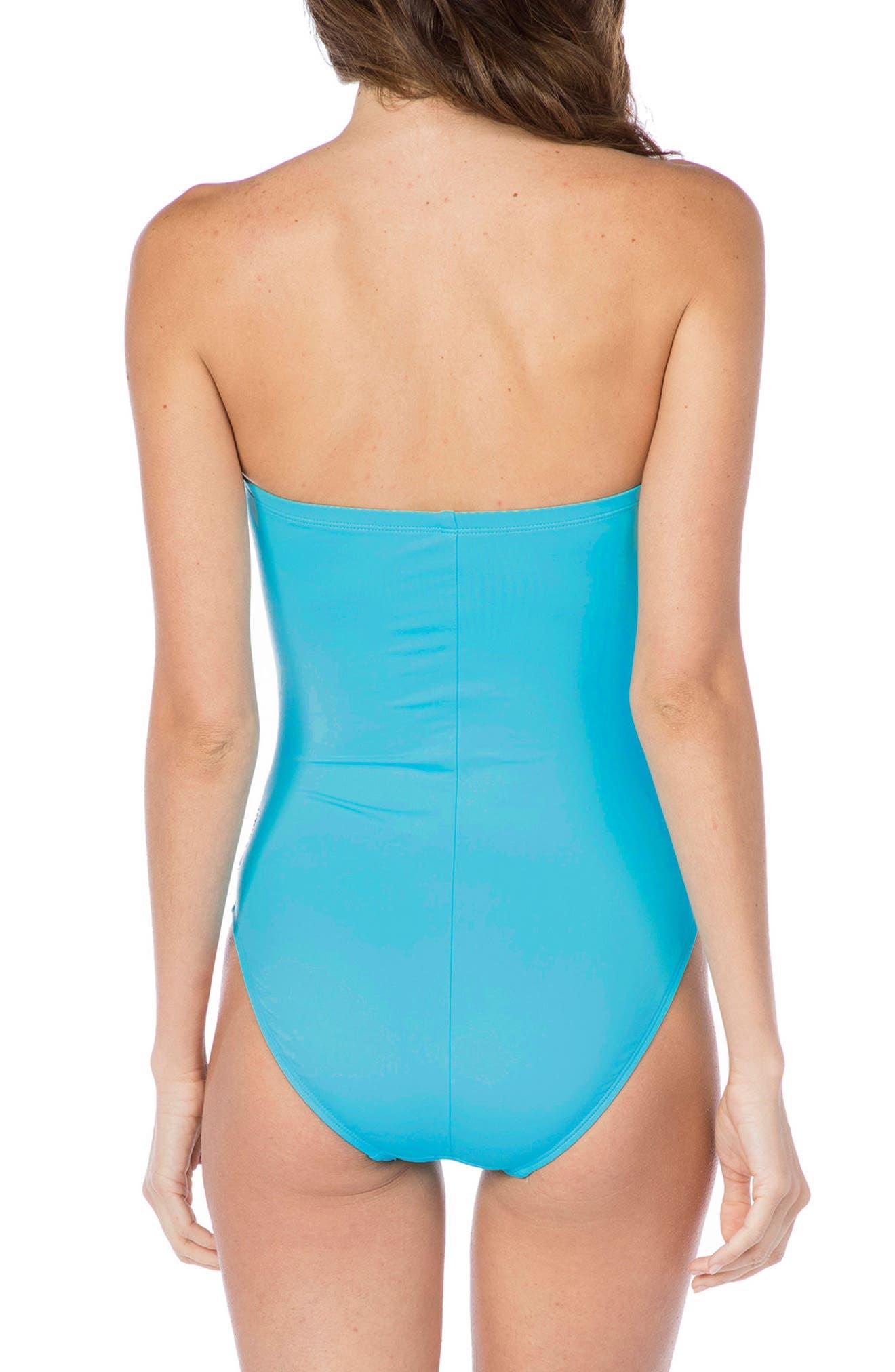 Twist Front Bandeau One-Piece Swimsuit,                             Alternate thumbnail 3, color,                             Aqua