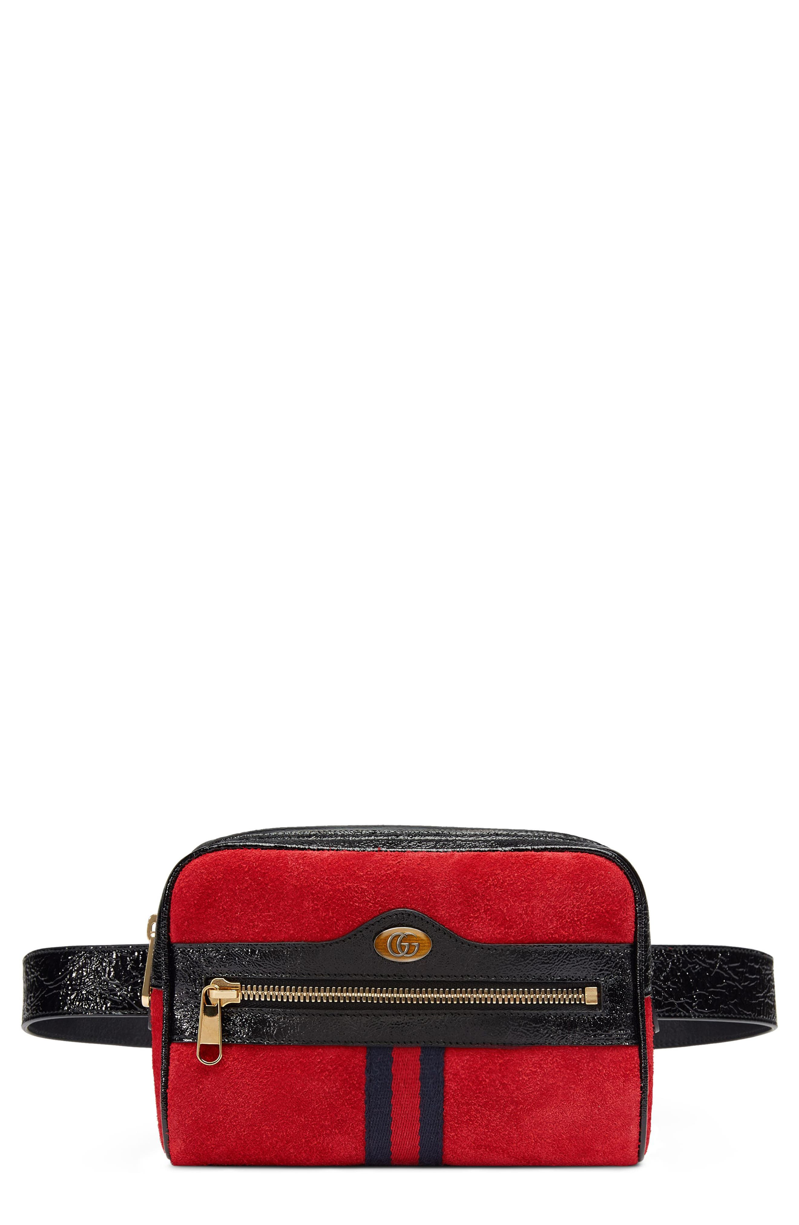 Ophidia Small Suede Belt Bag,                         Main,                         color, Hibiscus Red/ Nero/ Blue