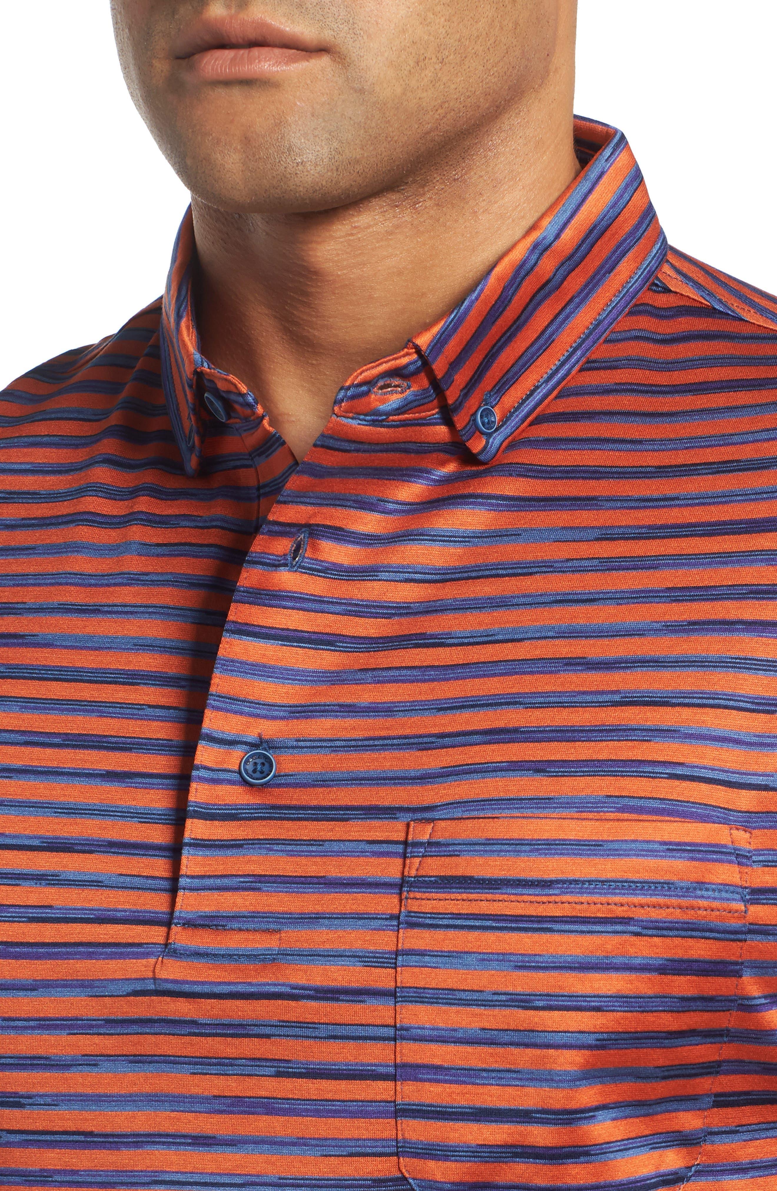 Stripe Knit Polo,                             Alternate thumbnail 4, color,                             Tangerine