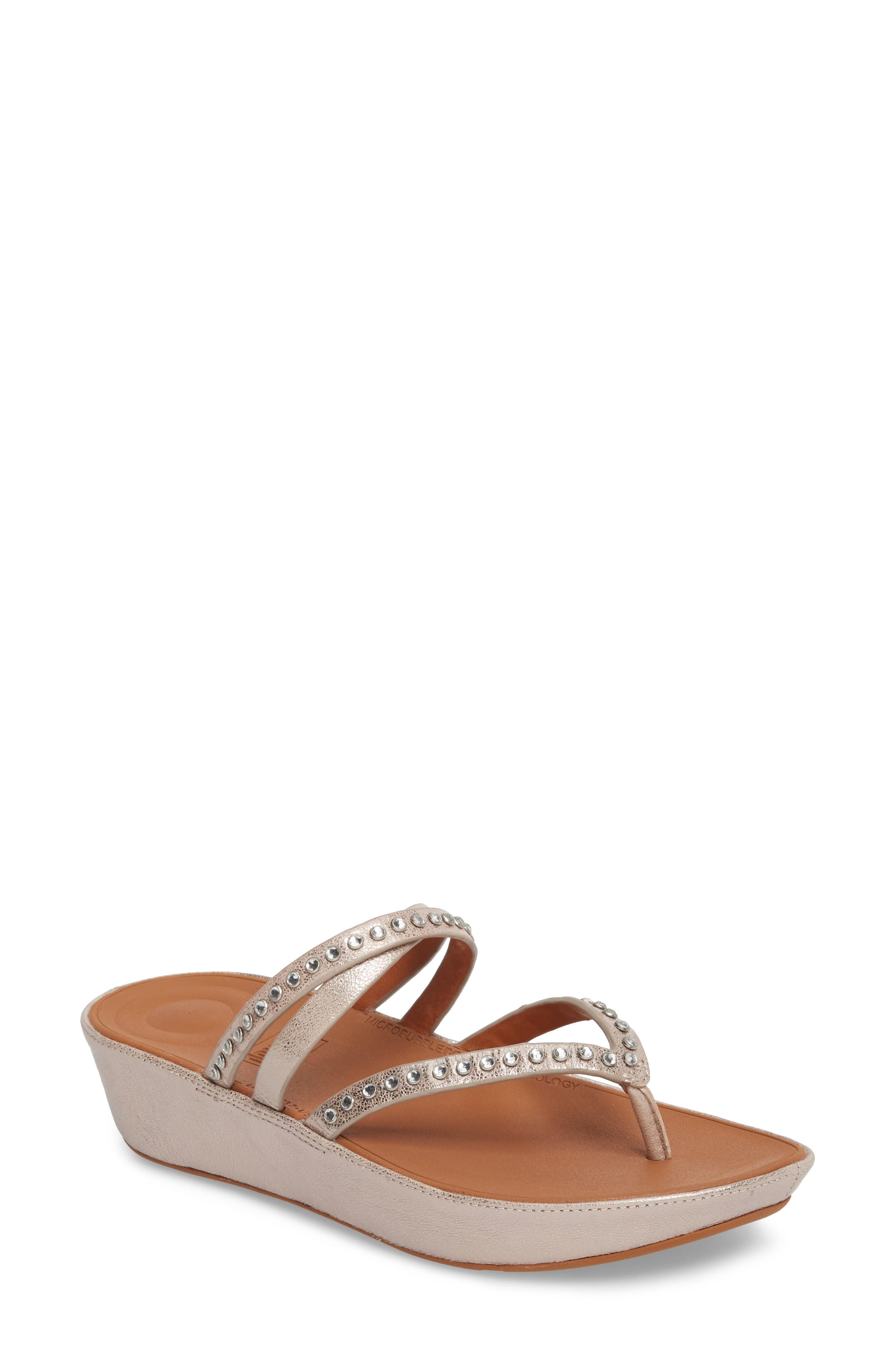 Linny Embellished Slide Sandal,                             Main thumbnail 1, color,                             Blush/ Metallic Nude Leather