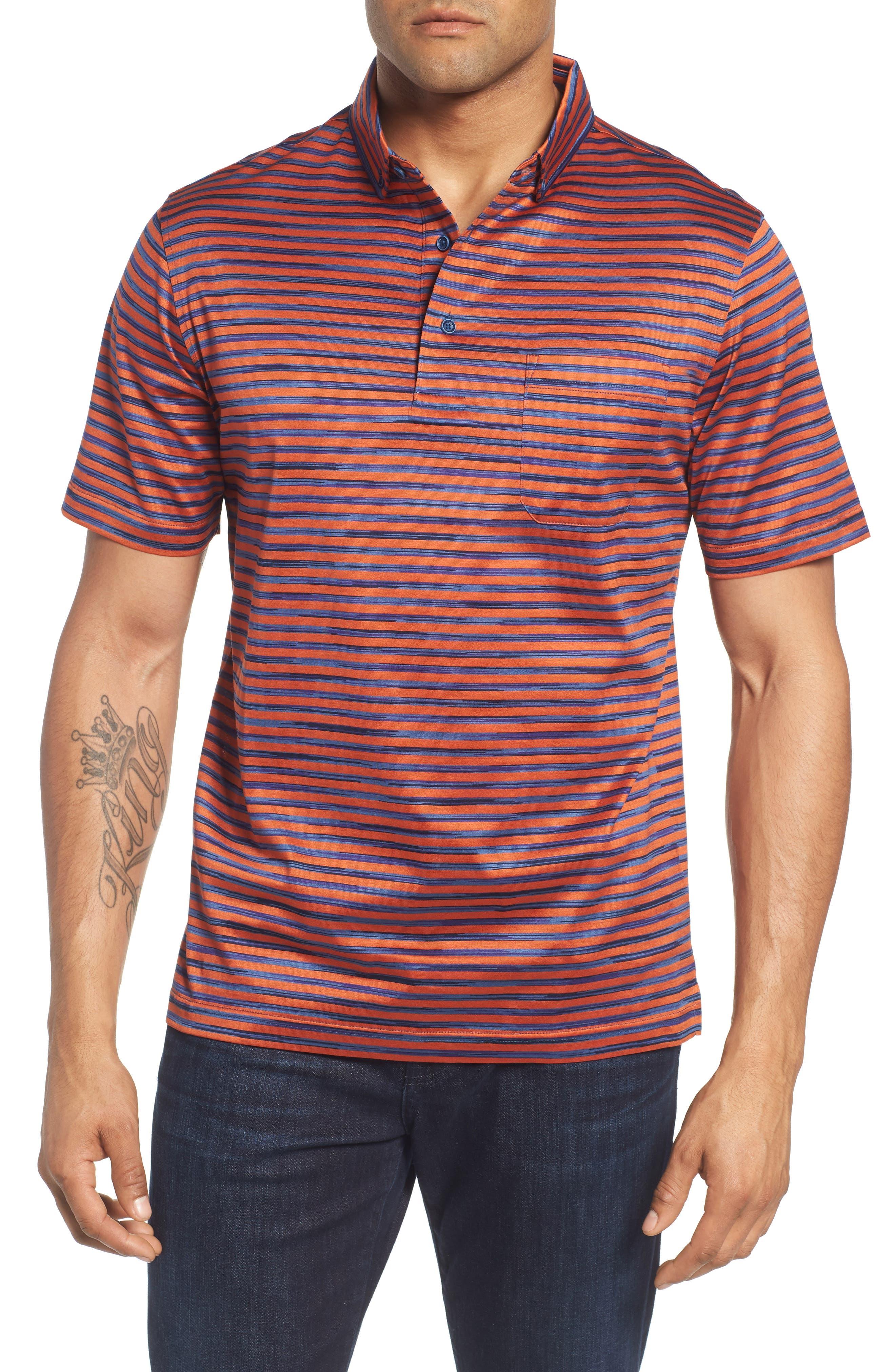 Stripe Knit Polo,                         Main,                         color, Tangerine