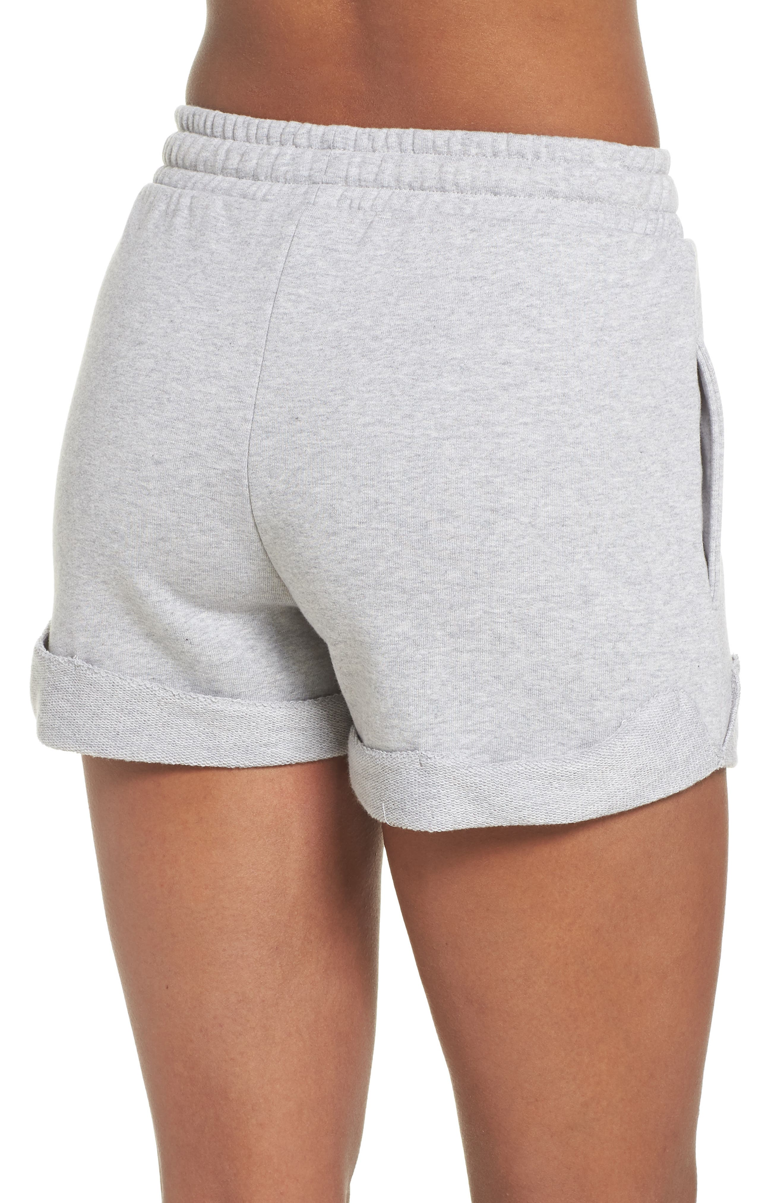 French Terry High Waist Shorts,                             Alternate thumbnail 2, color,                             Light Grey Marl