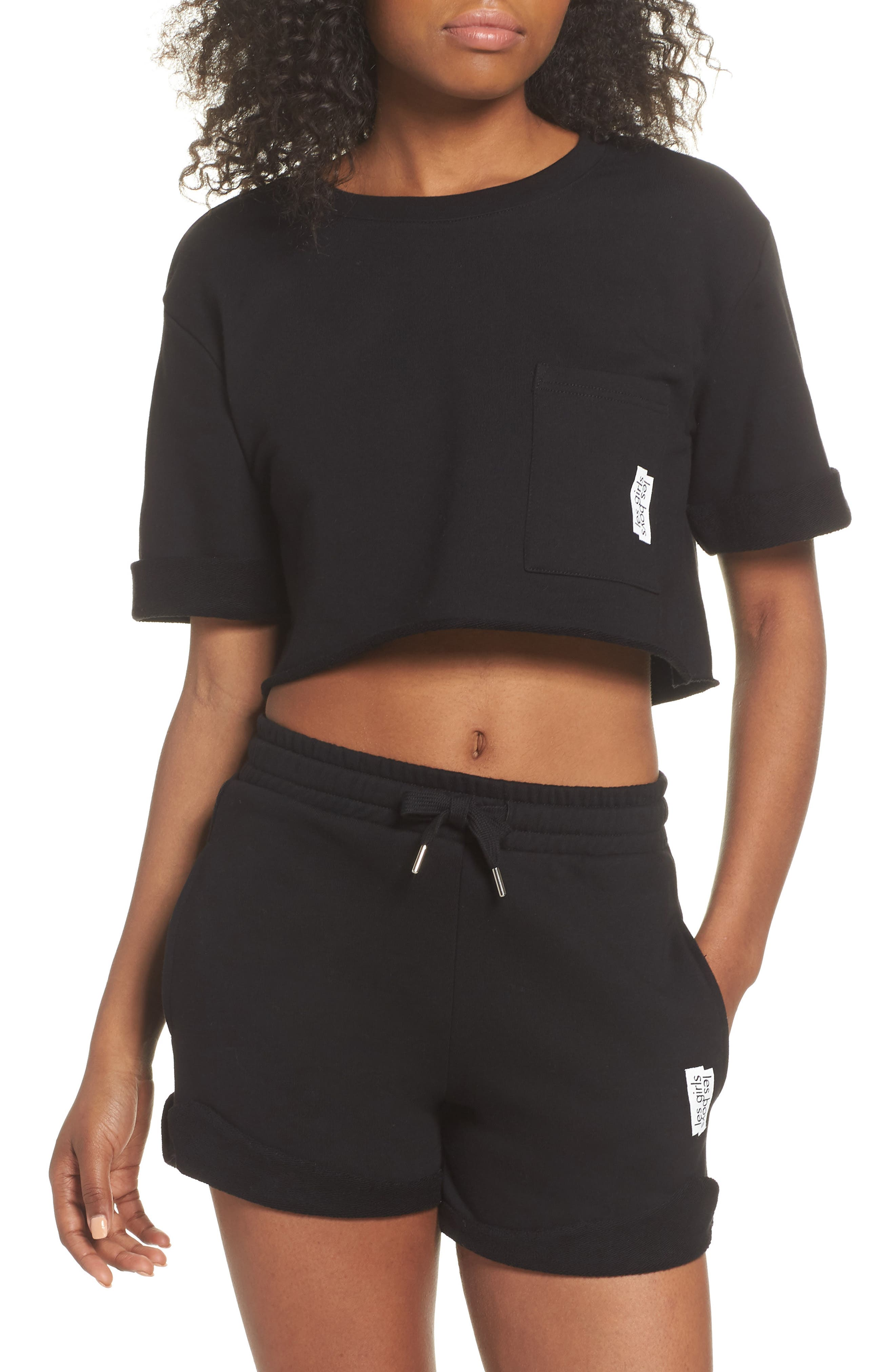 French Terry High Waist Shorts,                             Alternate thumbnail 5, color,                             Black