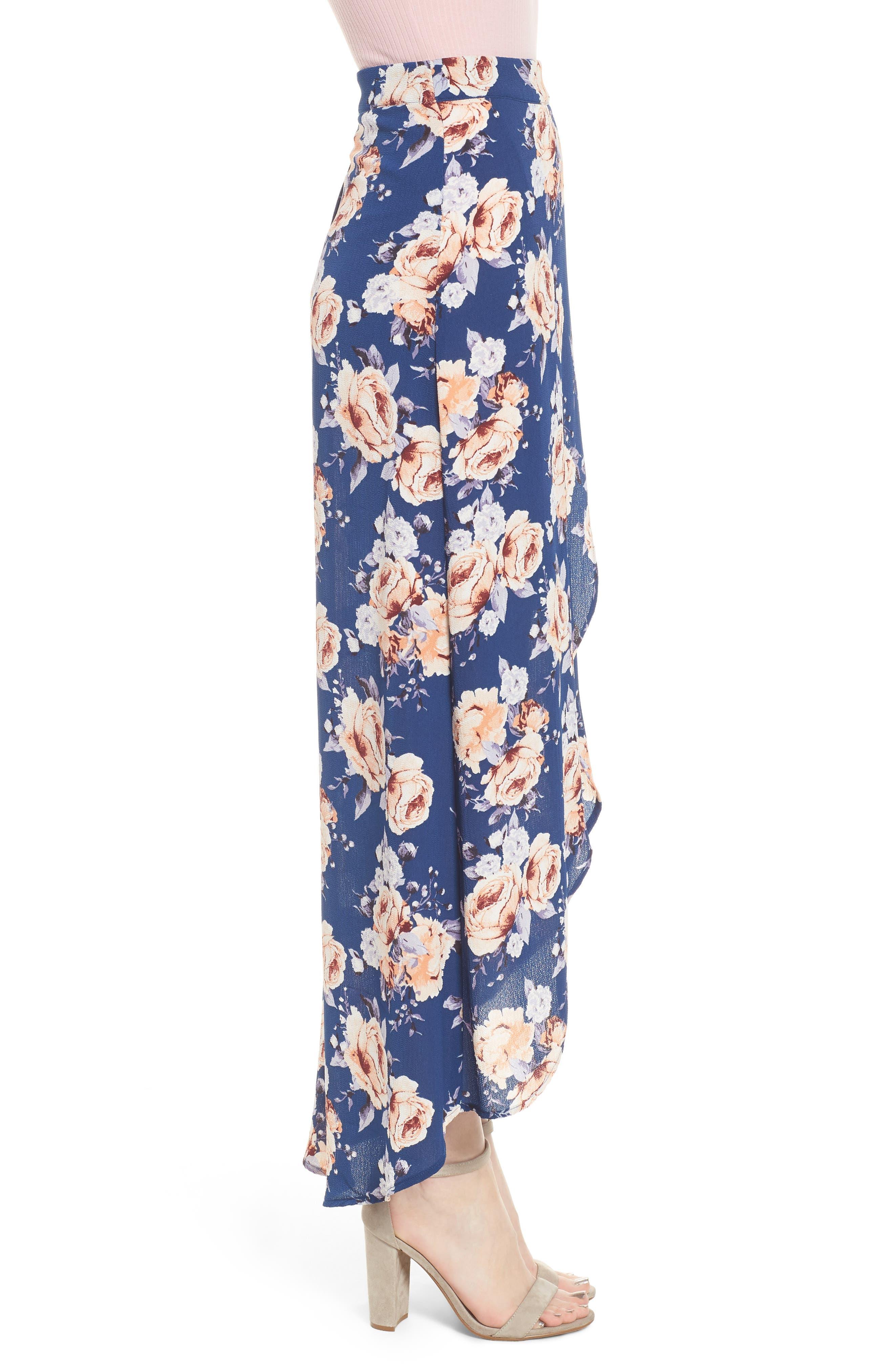 Floral Print Maxi Skirt,                             Alternate thumbnail 3, color,                             Blue Floral