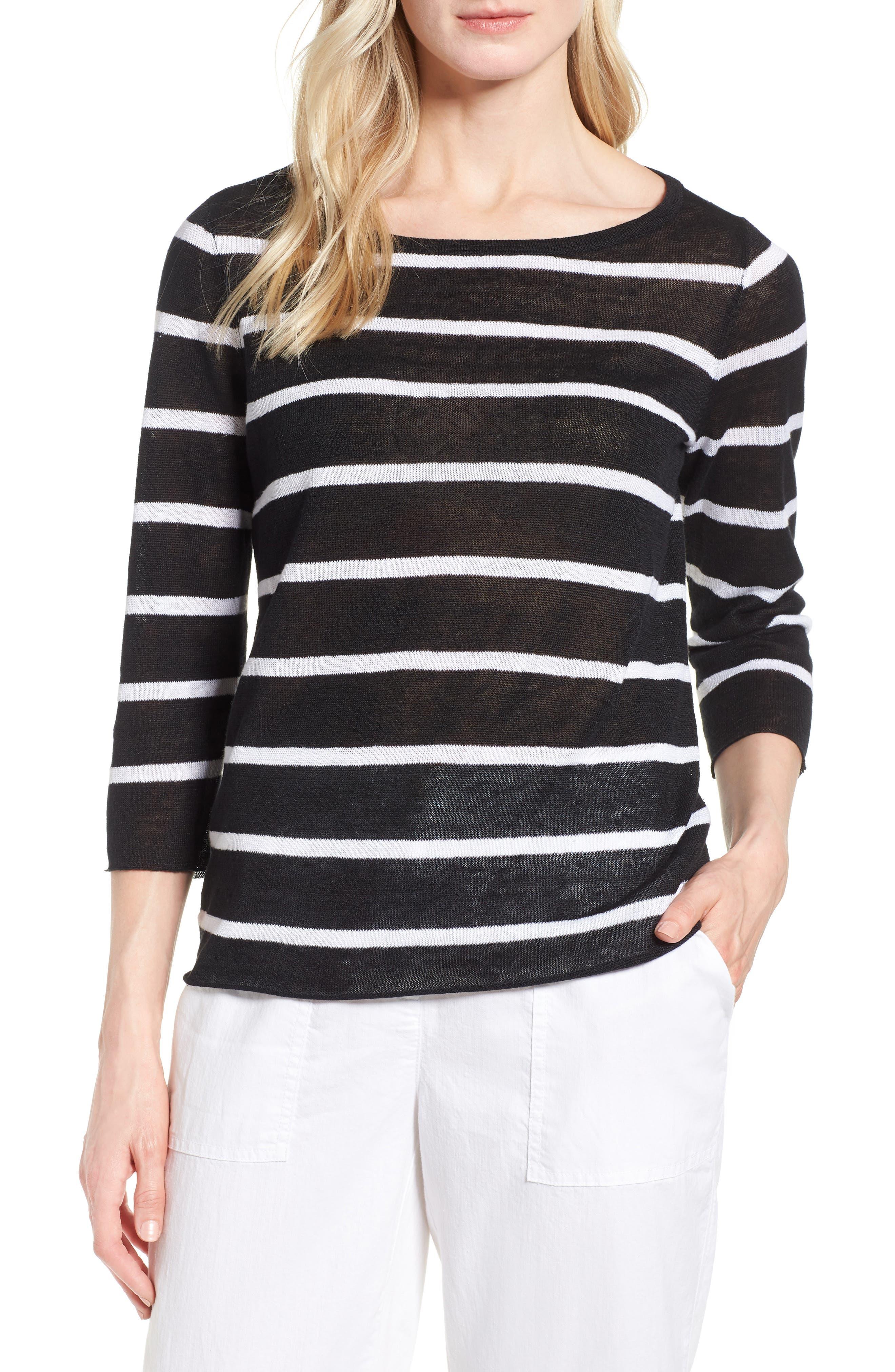 Stripe Organic Linen Sweater,                             Main thumbnail 1, color,                             Black/ White