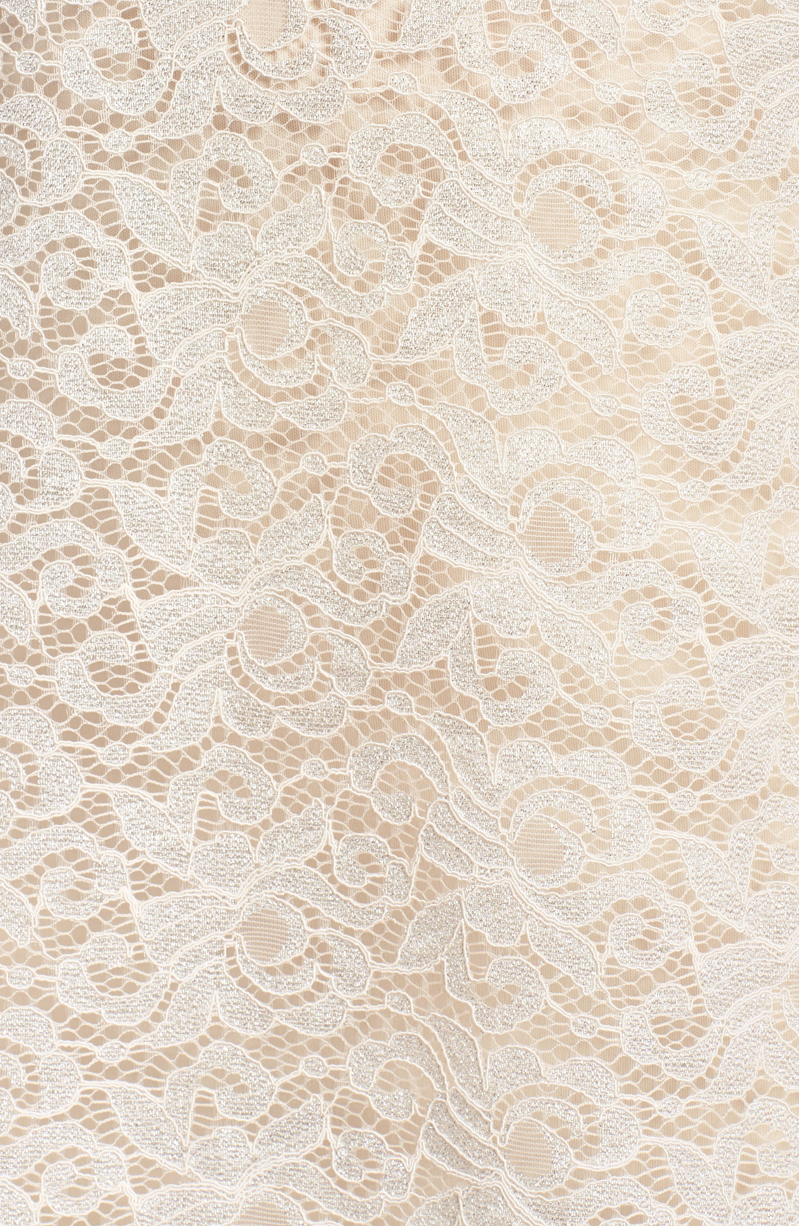Lace A-Line Dress,                             Alternate thumbnail 5, color,                             Taupe
