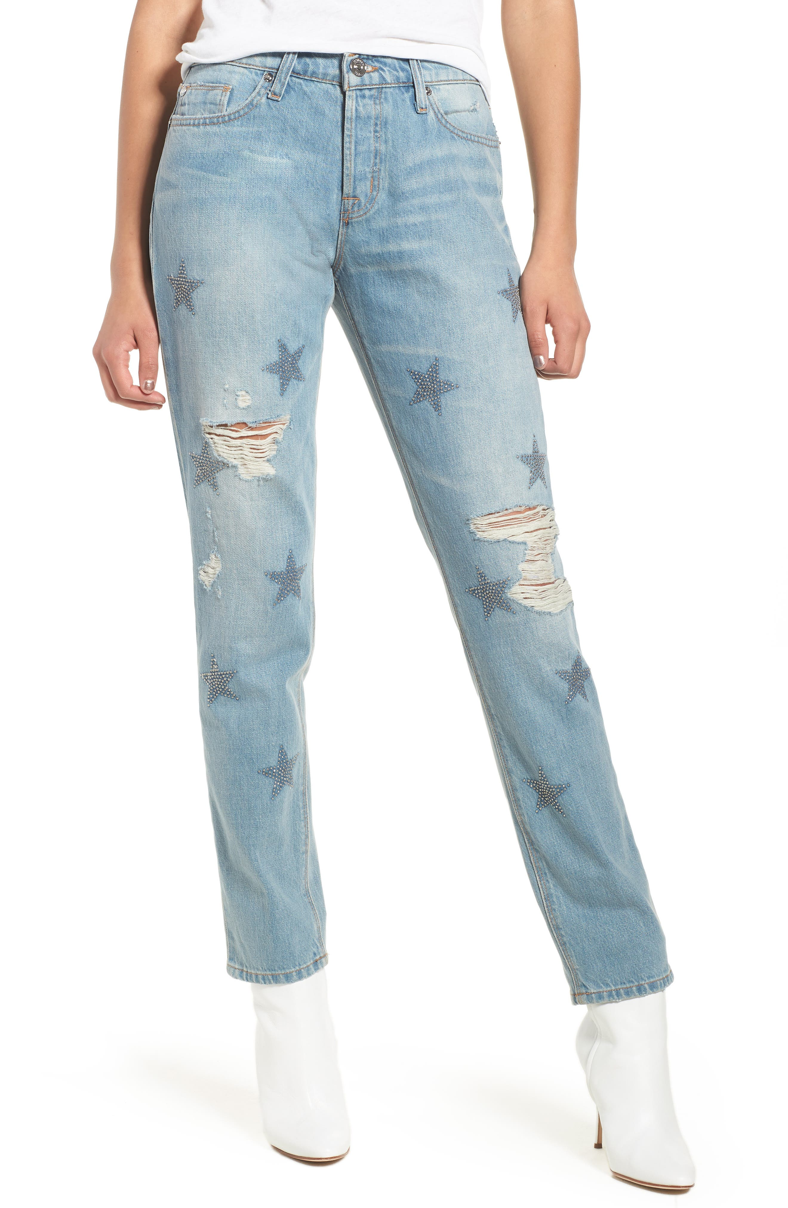 Riley Crop Relaxed Straight Leg Jeans,                         Main,                         color, Amplify