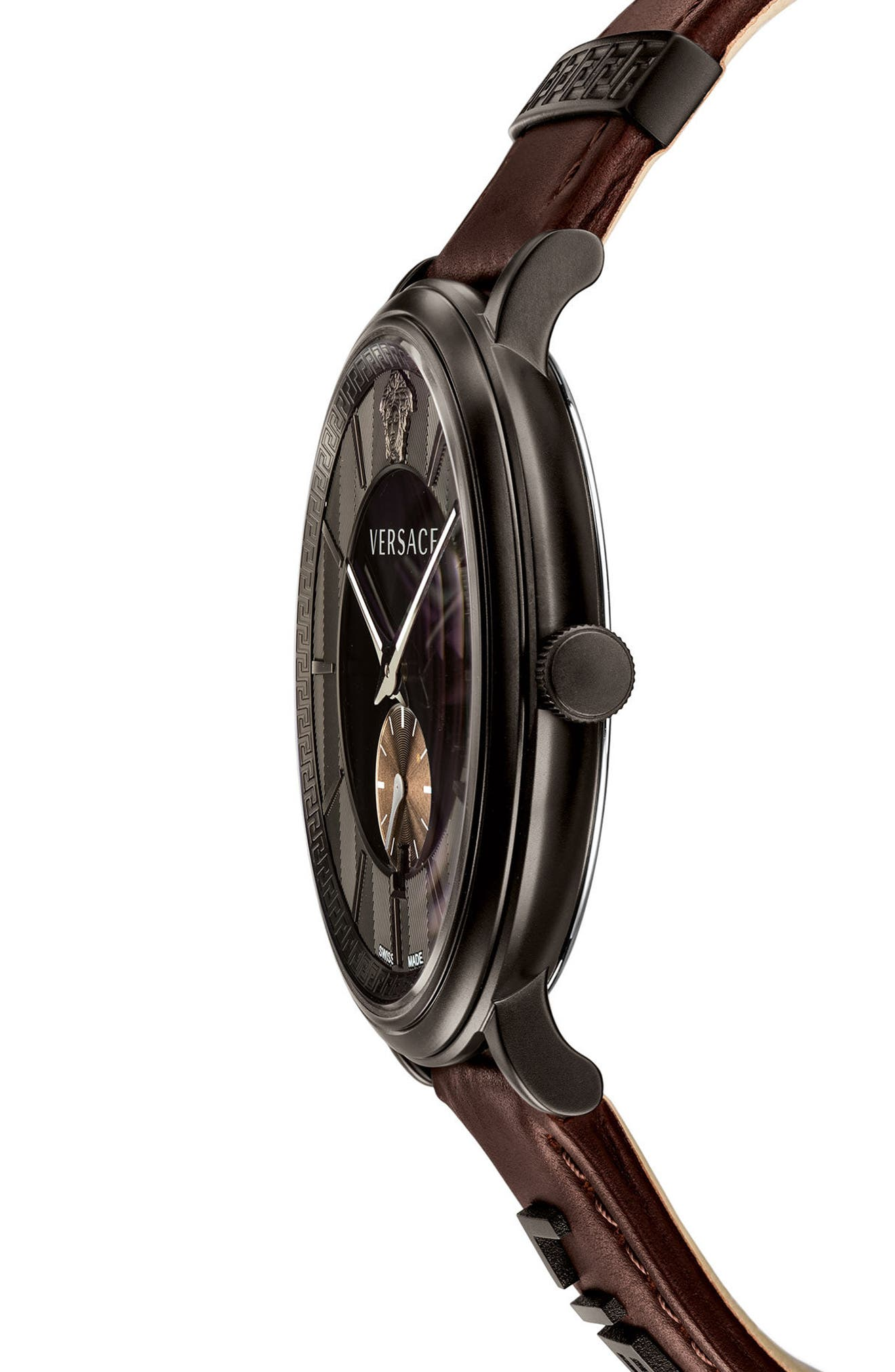 Manifesto Leather Strap Watch, 42mm,                             Alternate thumbnail 2, color,                             Brown/ Black