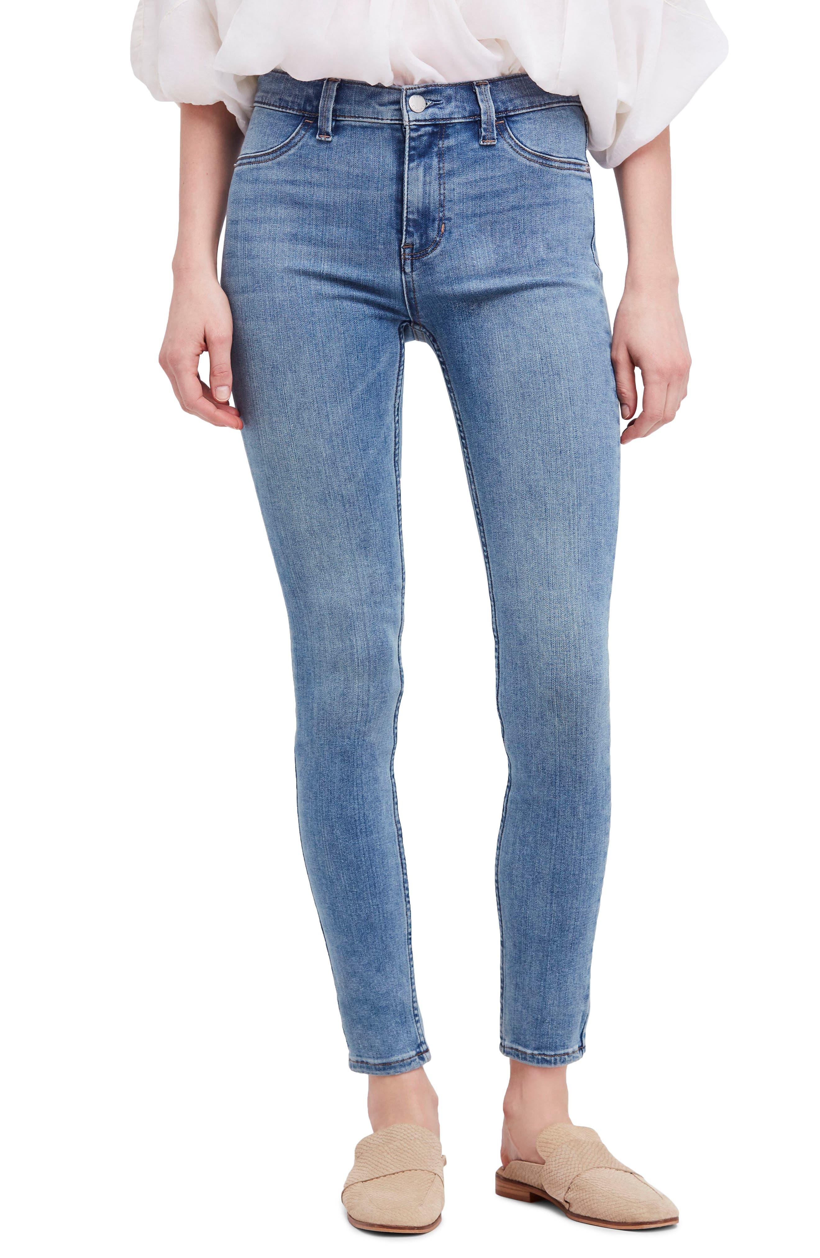Long & Lean High Waist Denim Leggings,                         Main,                         color, Light Denim