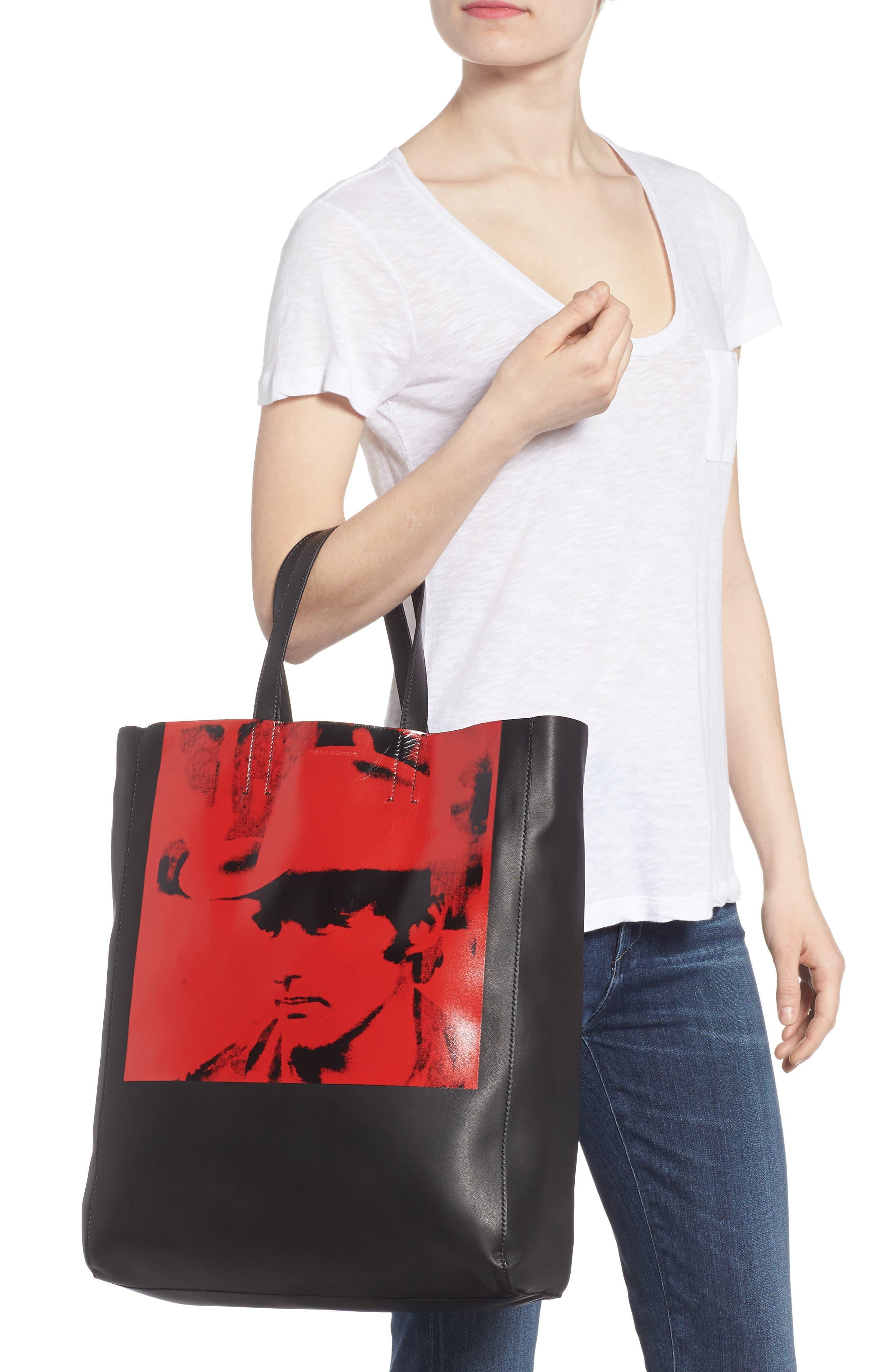 x Andy Warhol Foundation Dennis Hopper Calfskin Leather Bucket Bag,                             Alternate thumbnail 2, color,                             Black/ Red