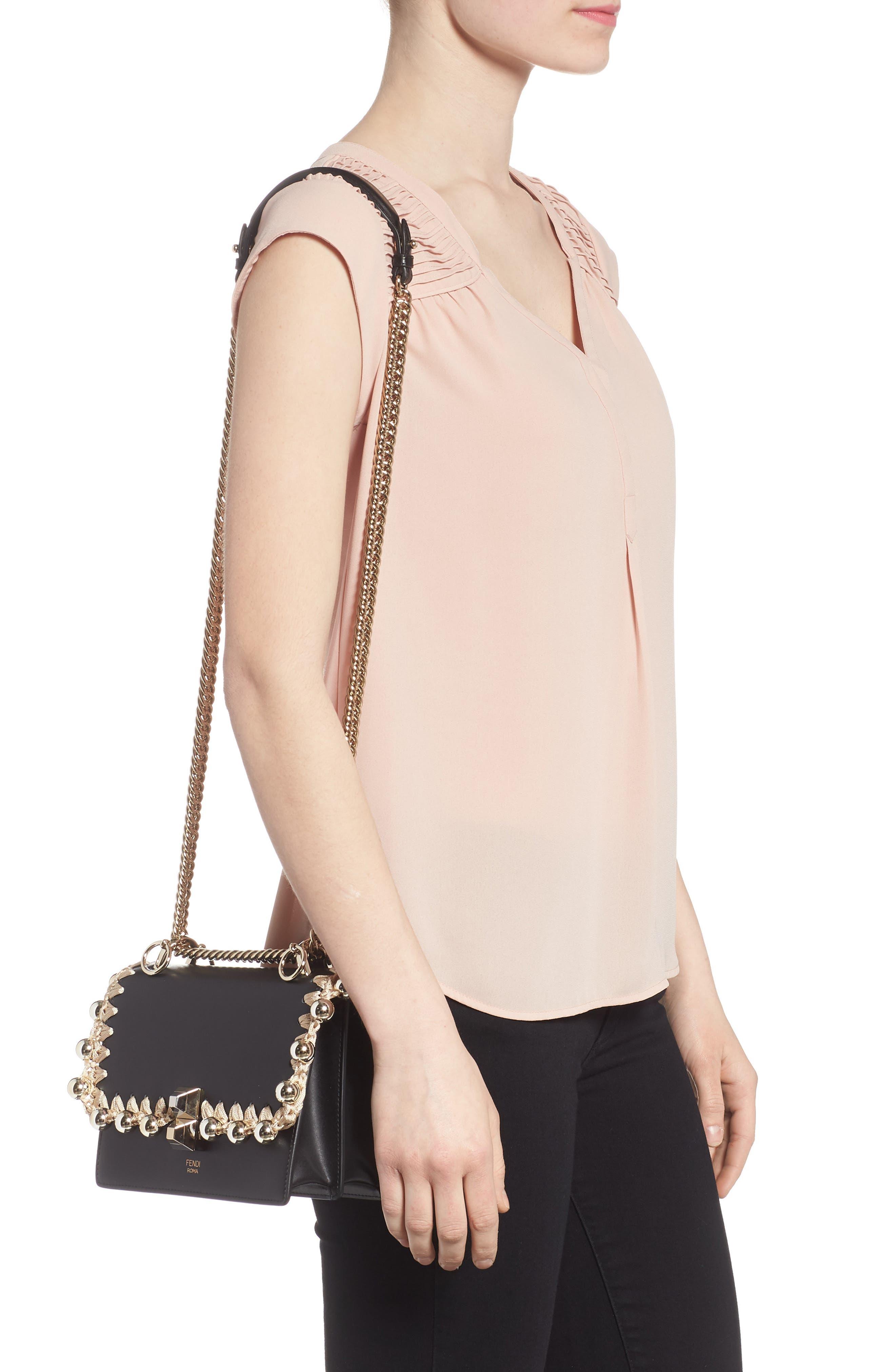 Small Kan I Leather Shoulder Bag,                             Alternate thumbnail 2, color,                             Nero/ Oro/ Chiaro