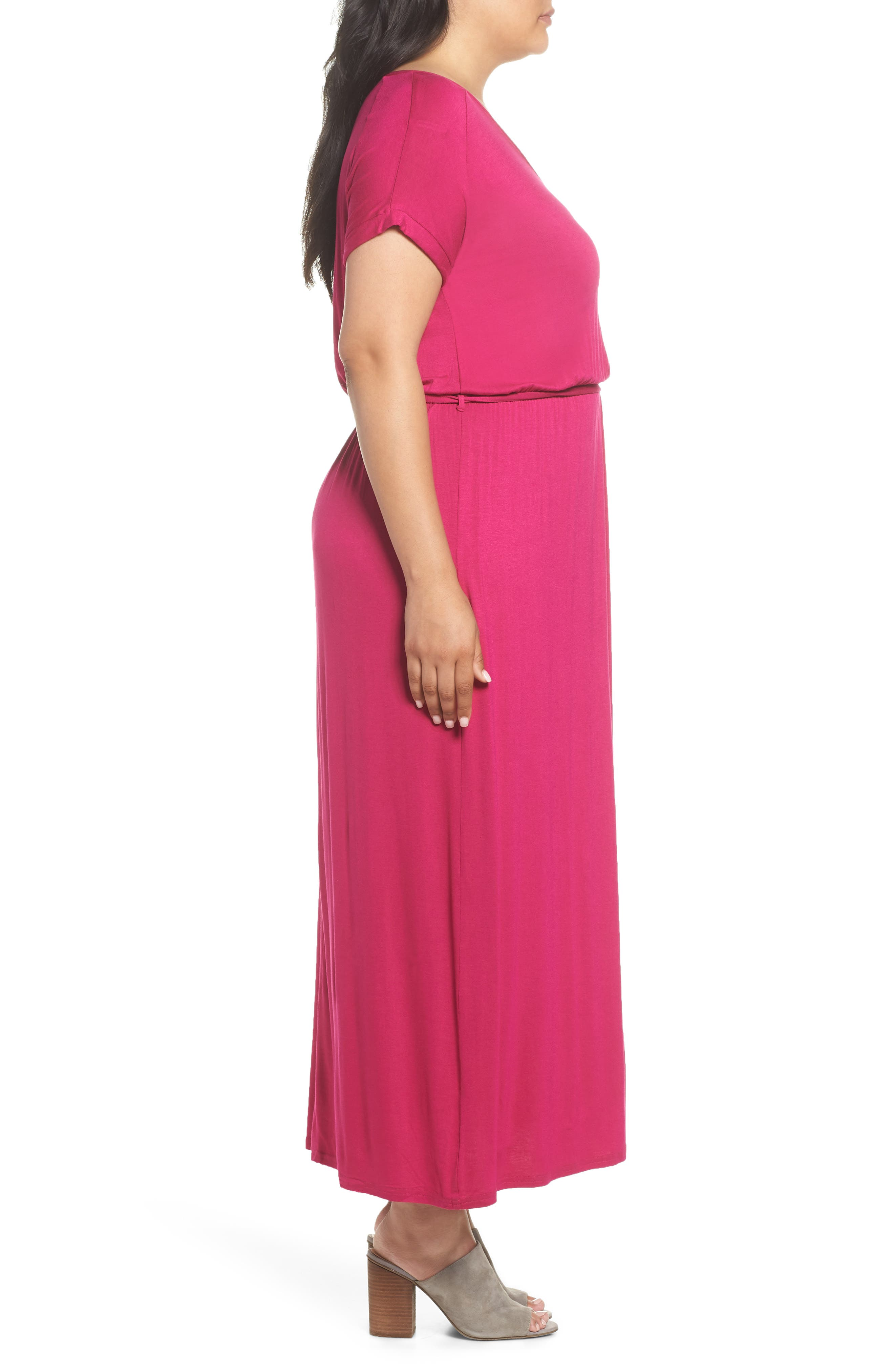Jersey Maxi Dress,                             Alternate thumbnail 3, color,                             Pink