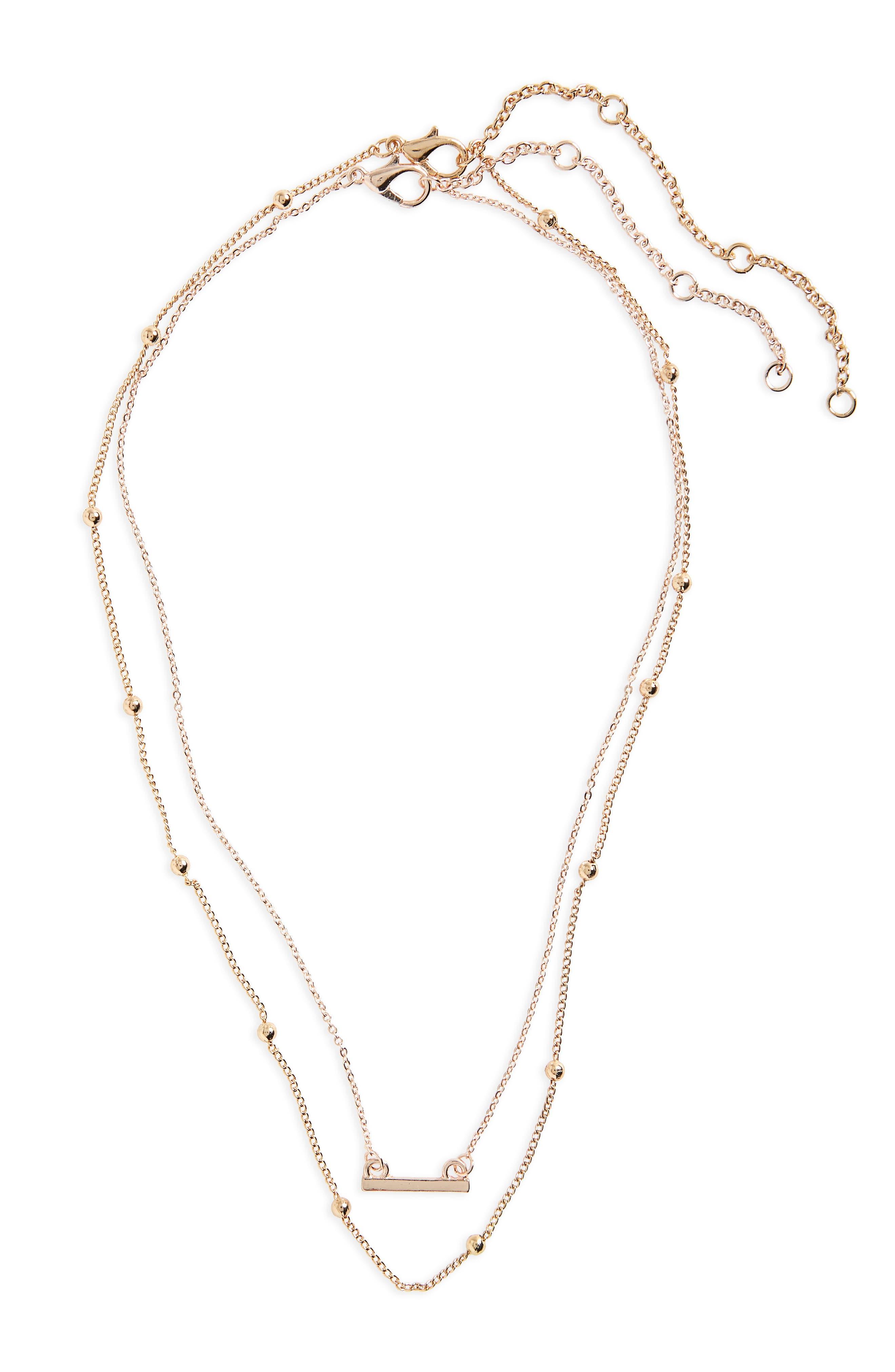 2-Pack Bar & Bead Necklaces,                             Main thumbnail 1, color,                             Gold