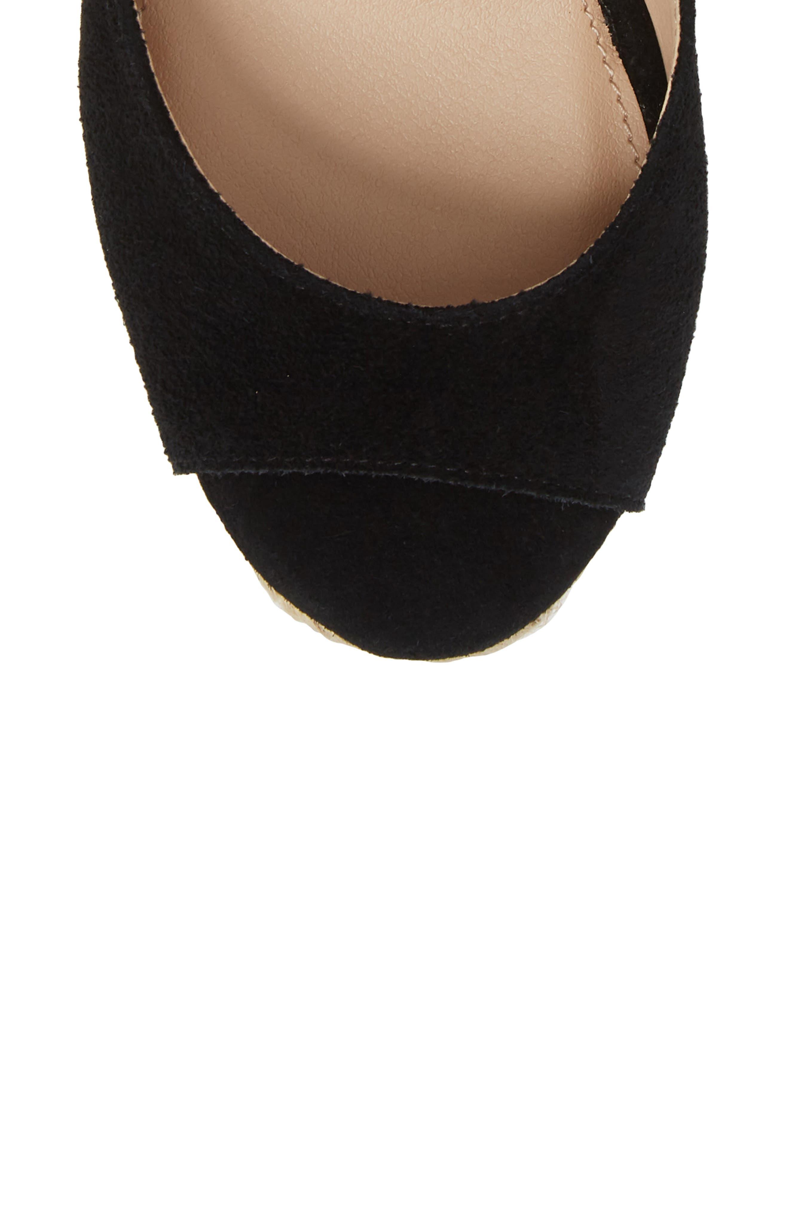 Secret Wedge Wraparound Sandal,                             Alternate thumbnail 5, color,                             Black Suede